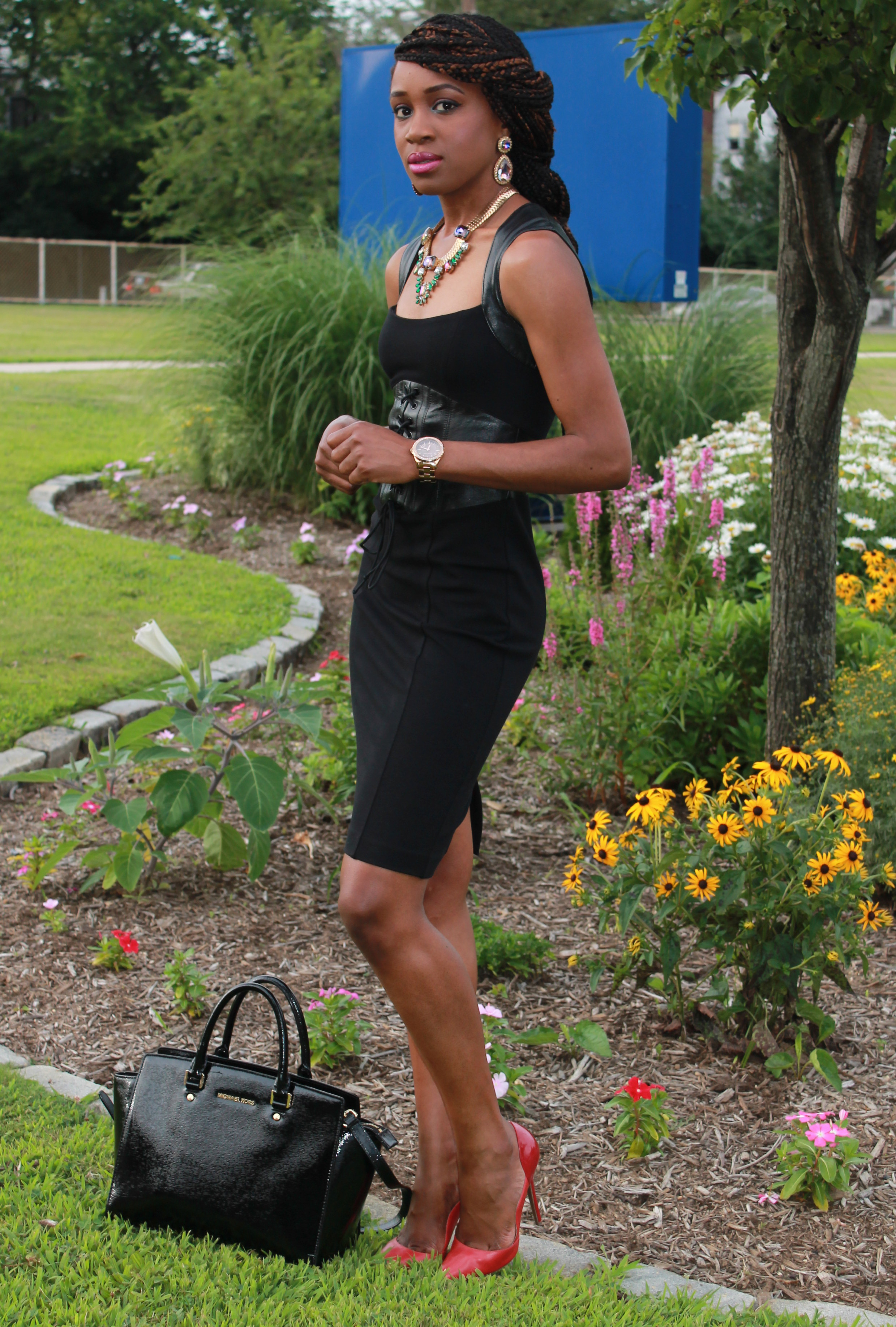 Black dress with leather details + statement necklace (6)