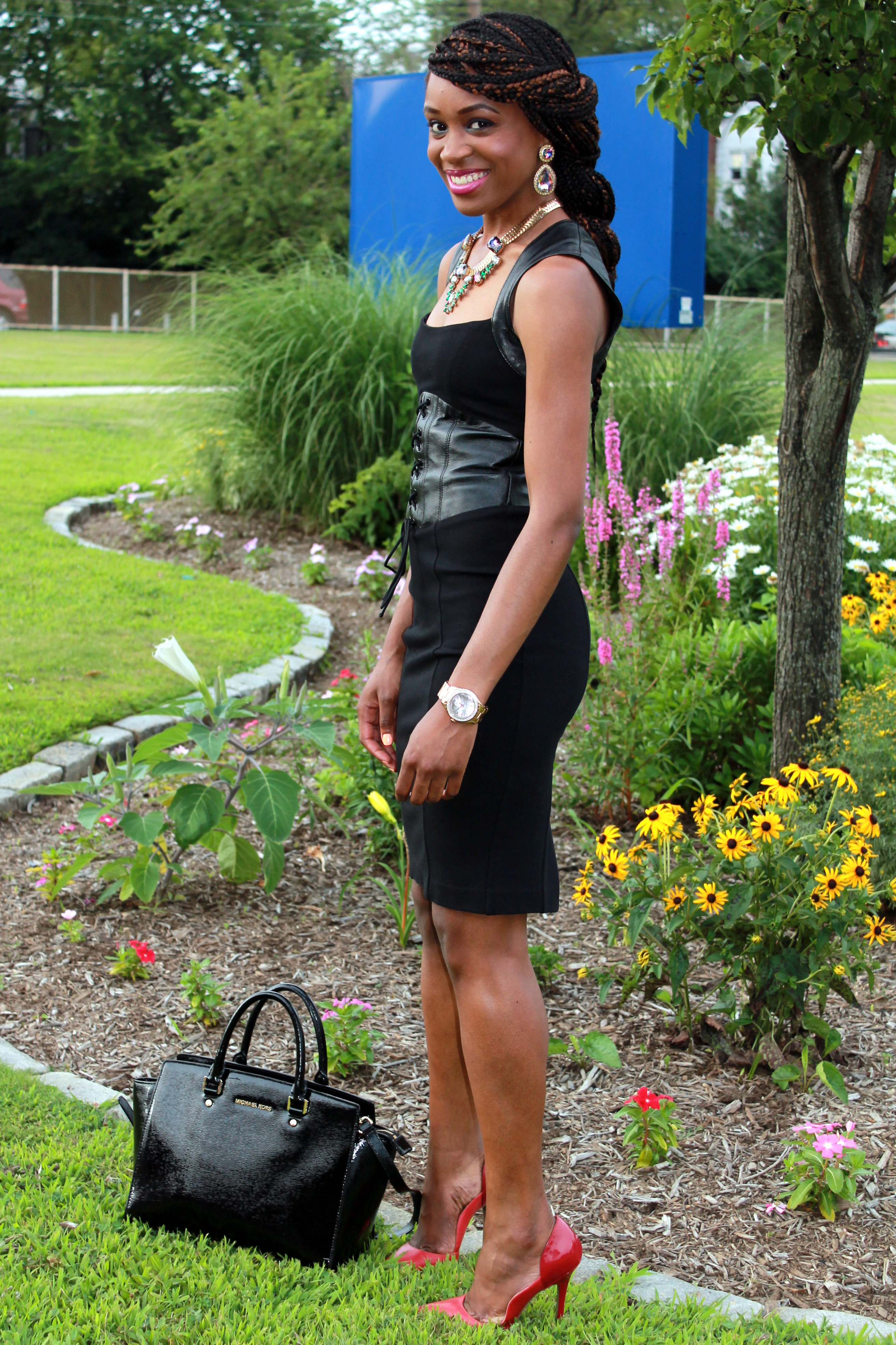 Black dress with leather details + statement necklace (7)