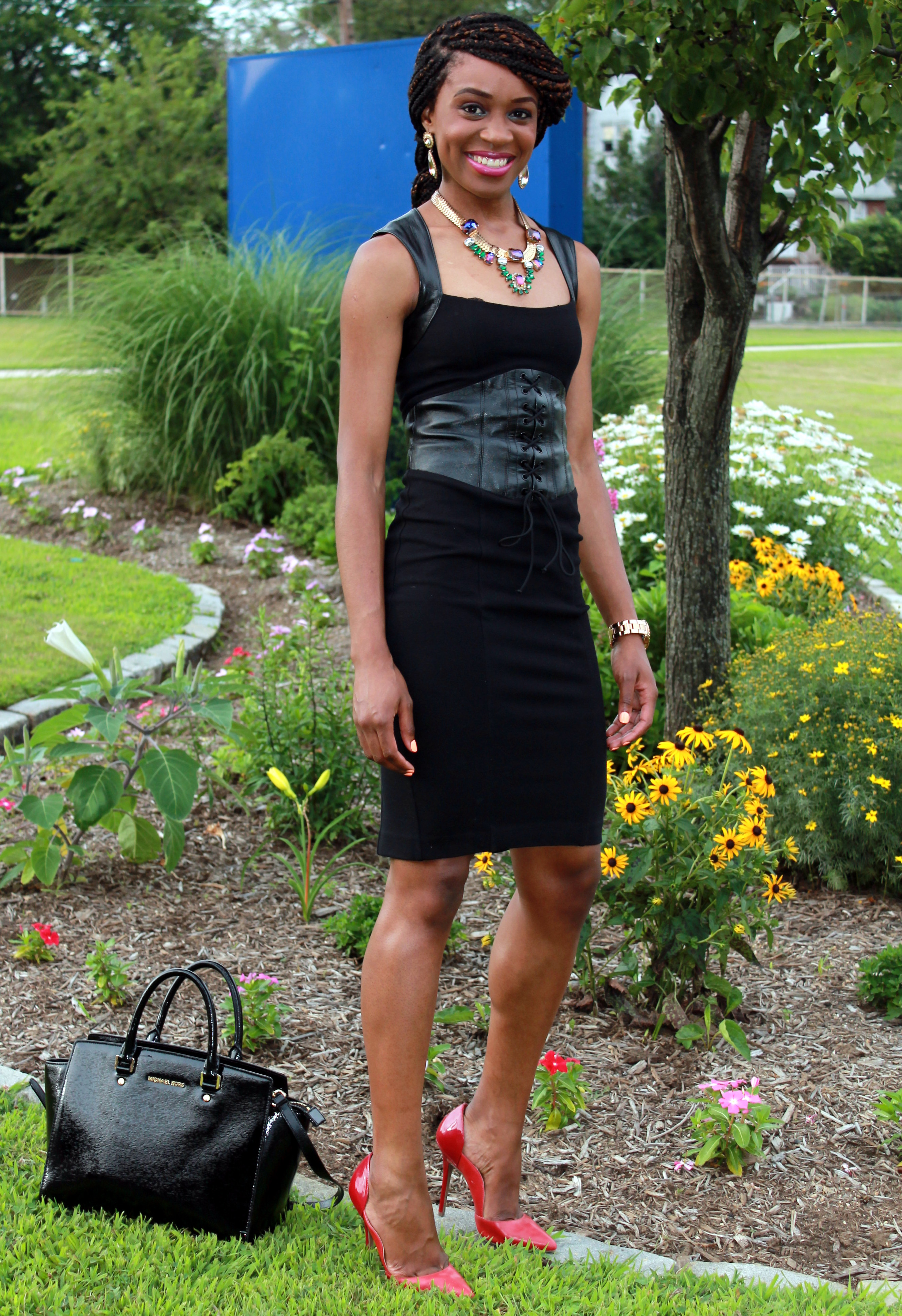Black dress with leather details + statement necklace (8)