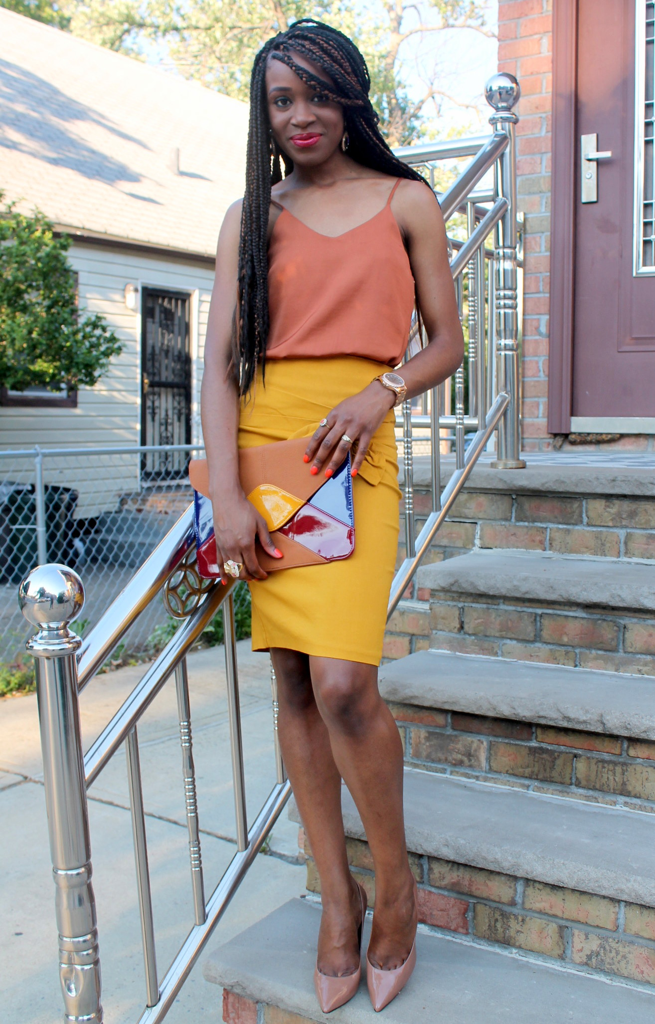 Mustard pencil skirt & silk cami (1)