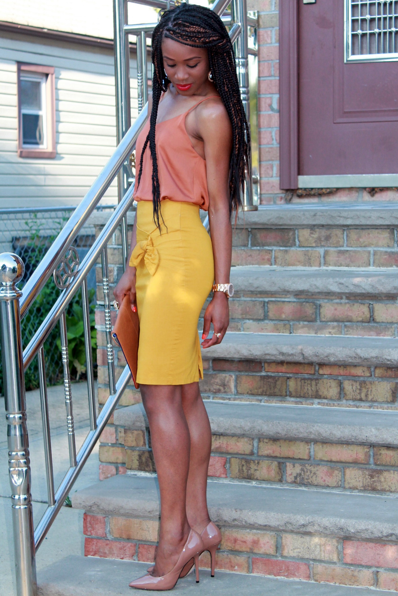 Mustard pencil skirt & silk cami (10)