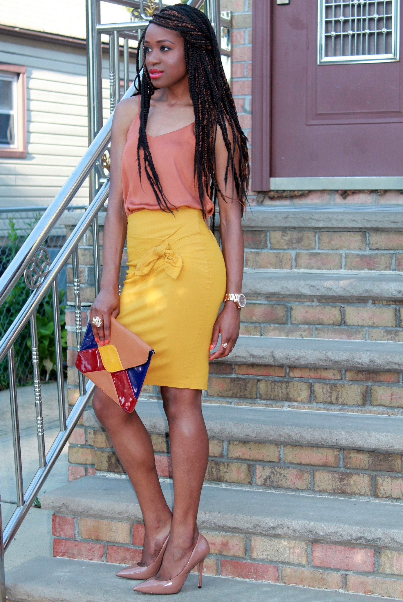Mustard pencil skirt & silk cami (11)