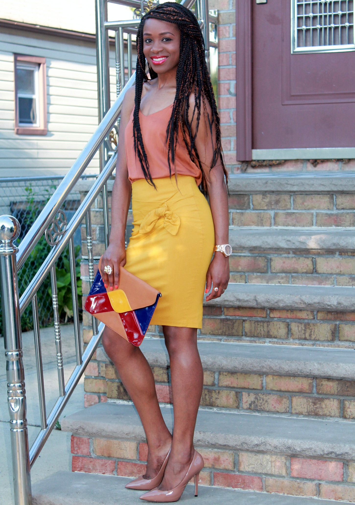 Mustard pencil skirt & silk cami (12)