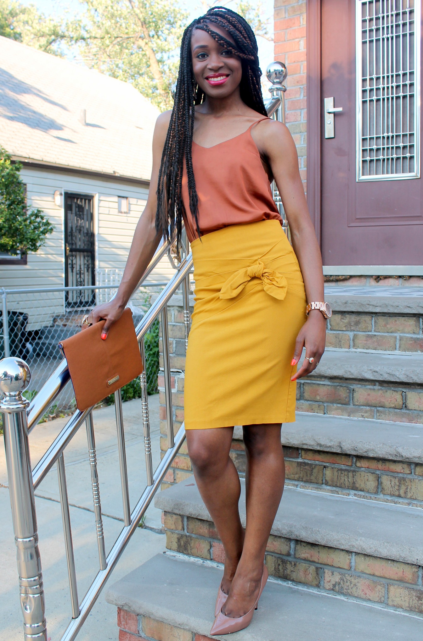 Mustard pencil skirt & silk cami (3)