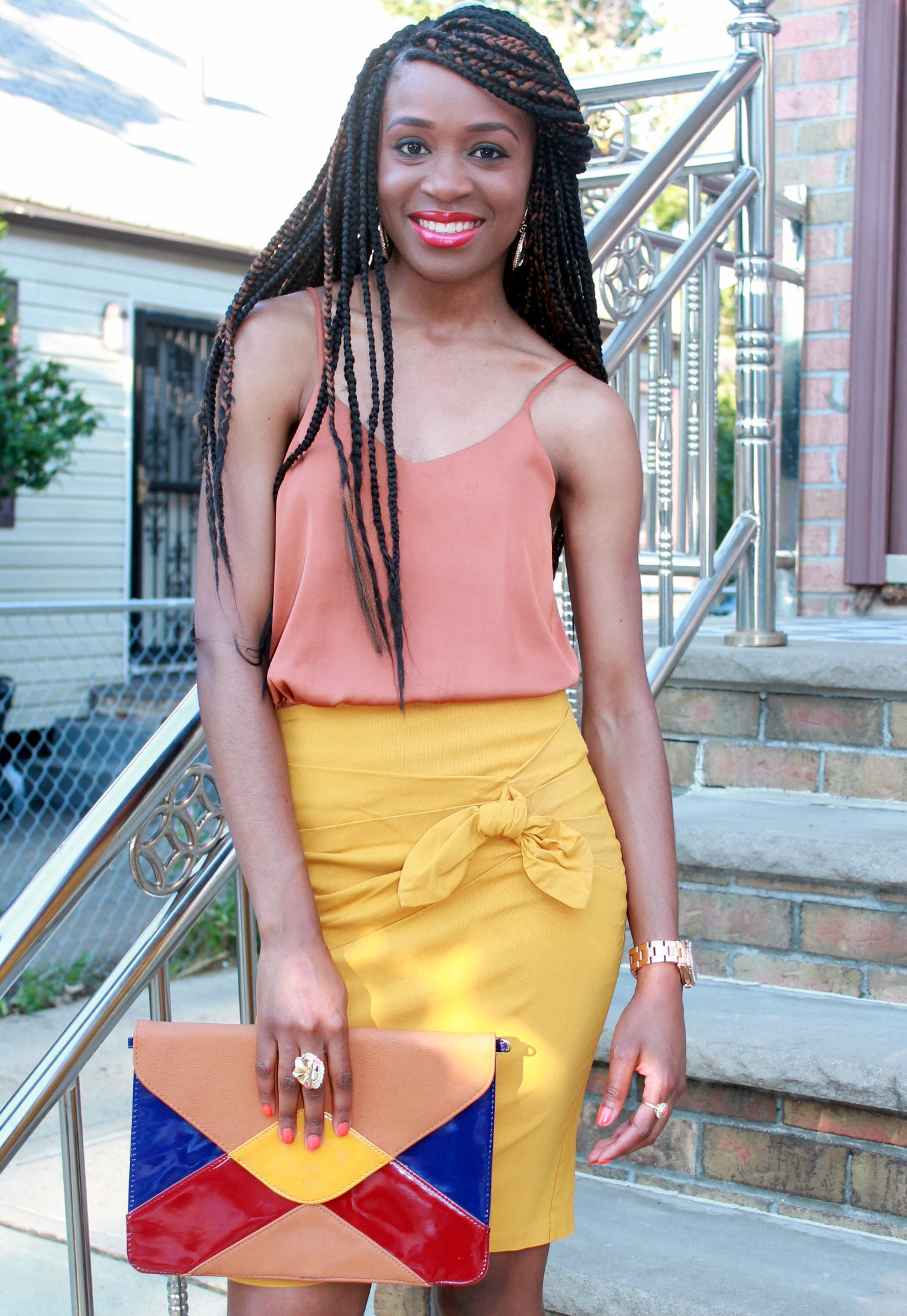 Mustard pencil skirt & silk cami (5)