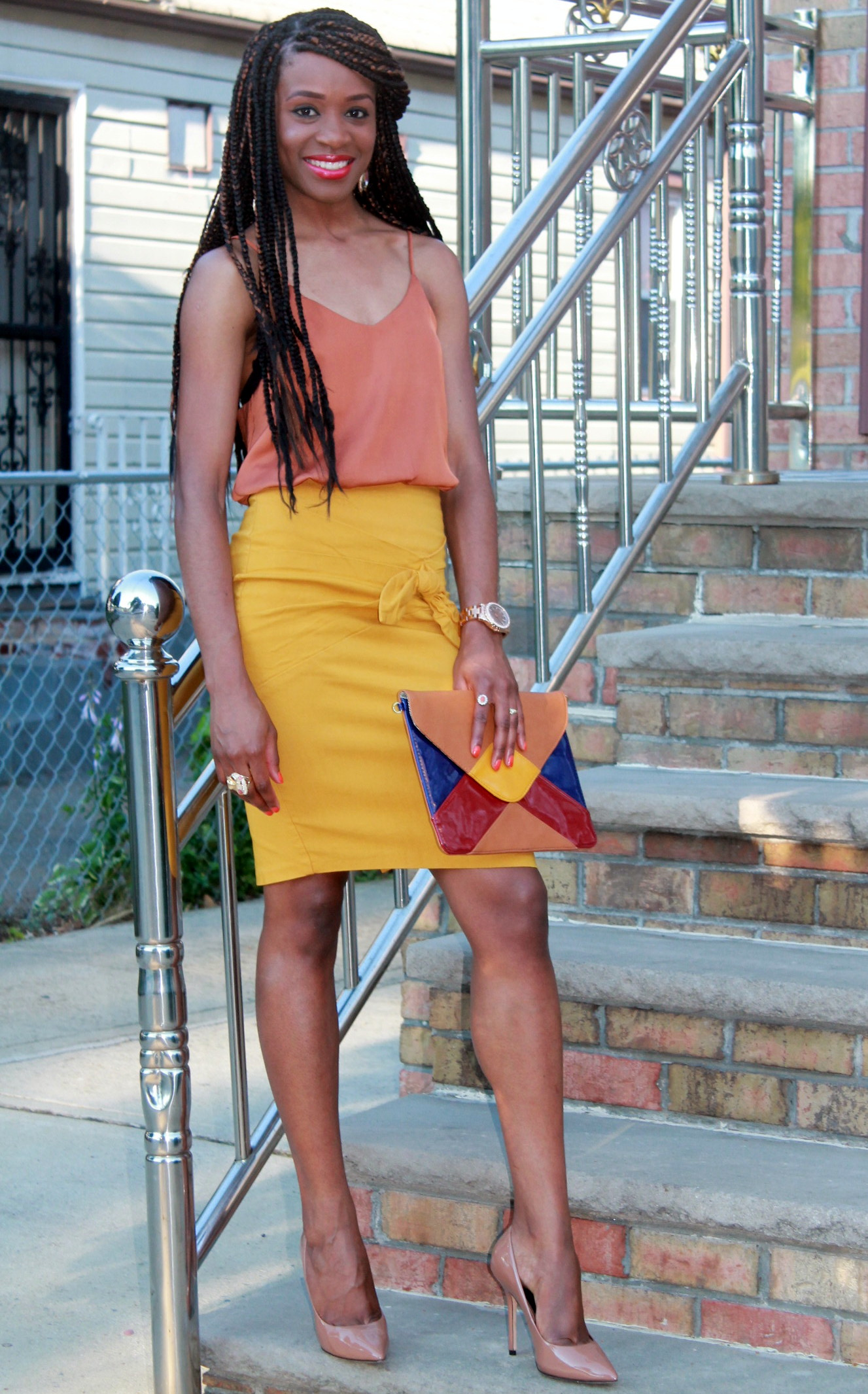 Mustard pencil skirt & silk cami (6)