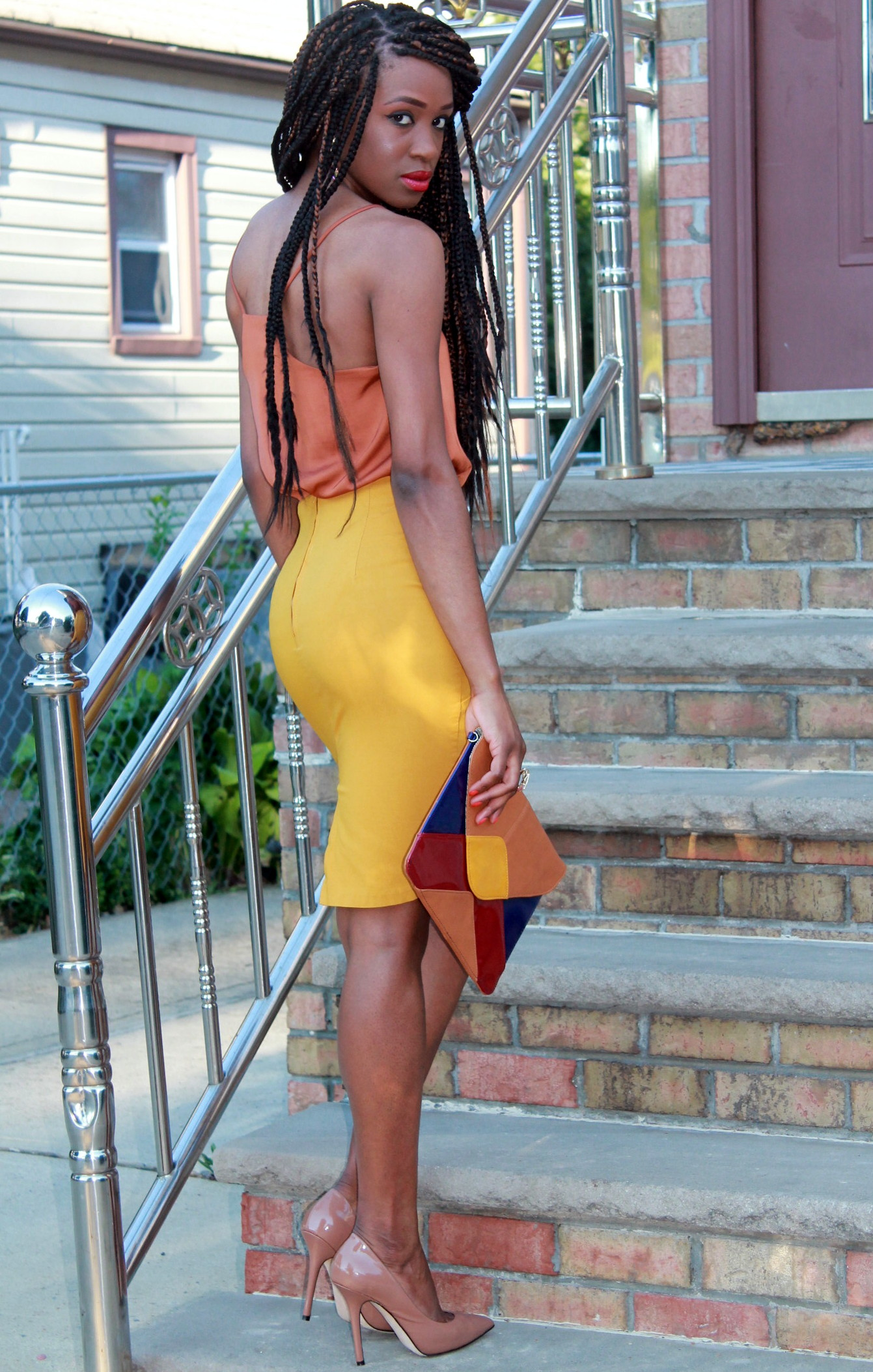 Mustard pencil skirt & silk cami (7)