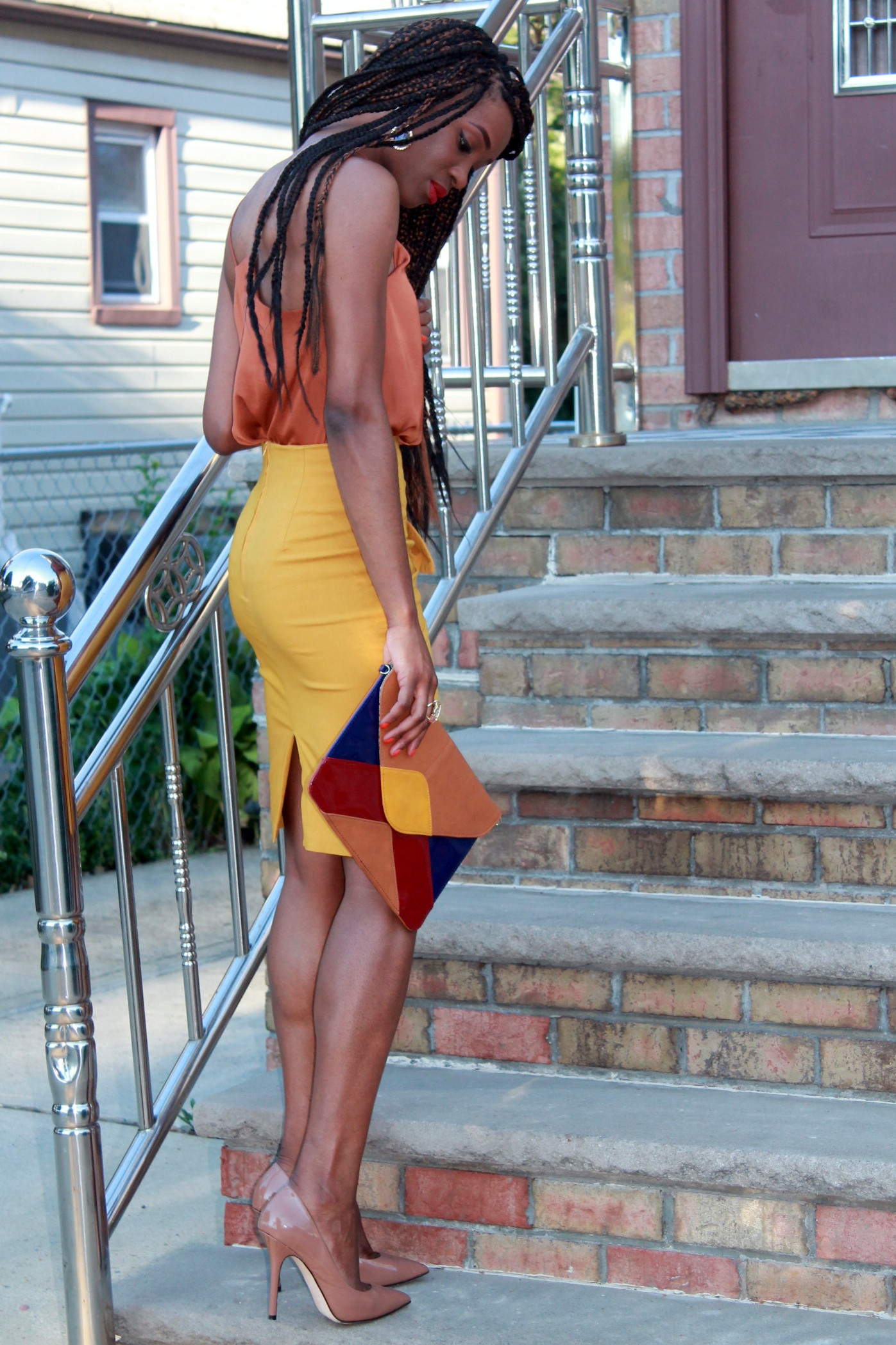 Mustard pencil skirt & silk cami (8)