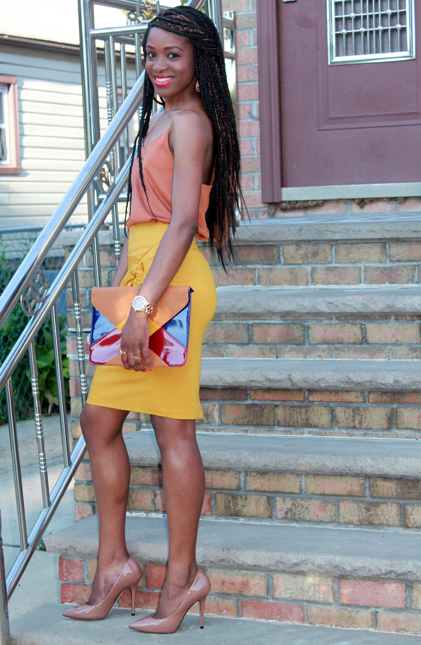 Mustard pencil skirt & silk cami (9)