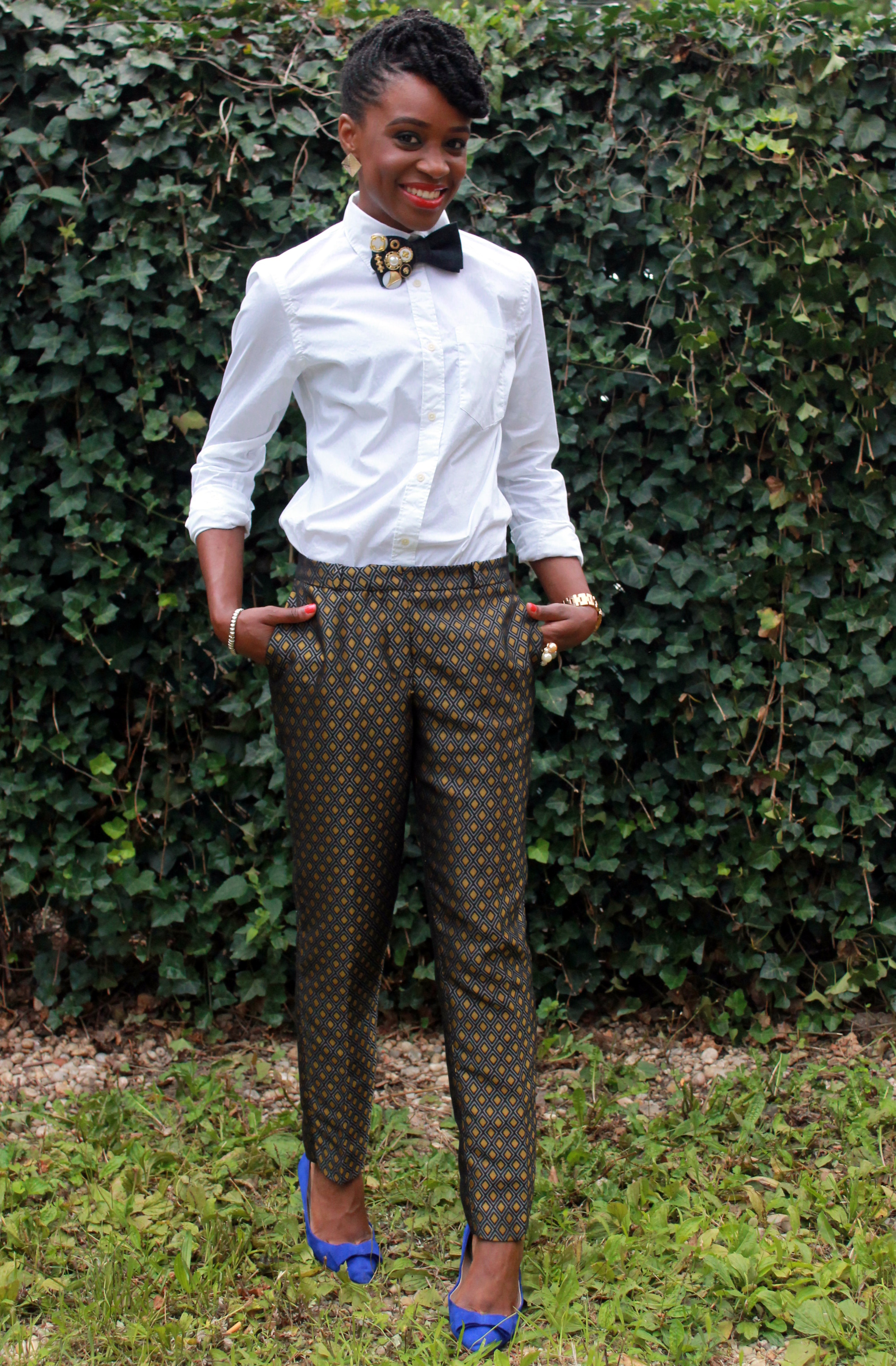Printed trousers & bedazzled tie (12)