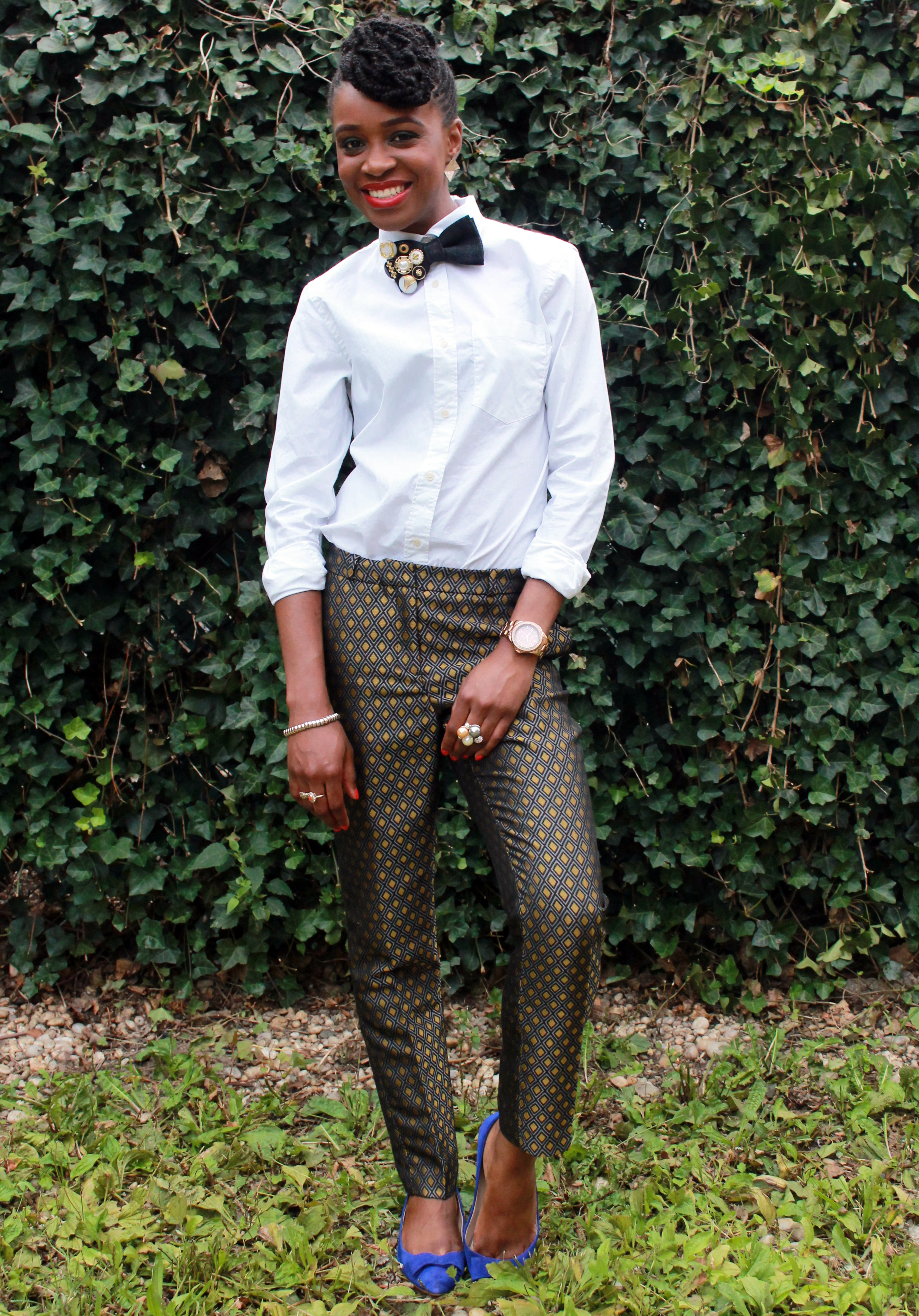 Printed trousers & bedazzled tie (4)