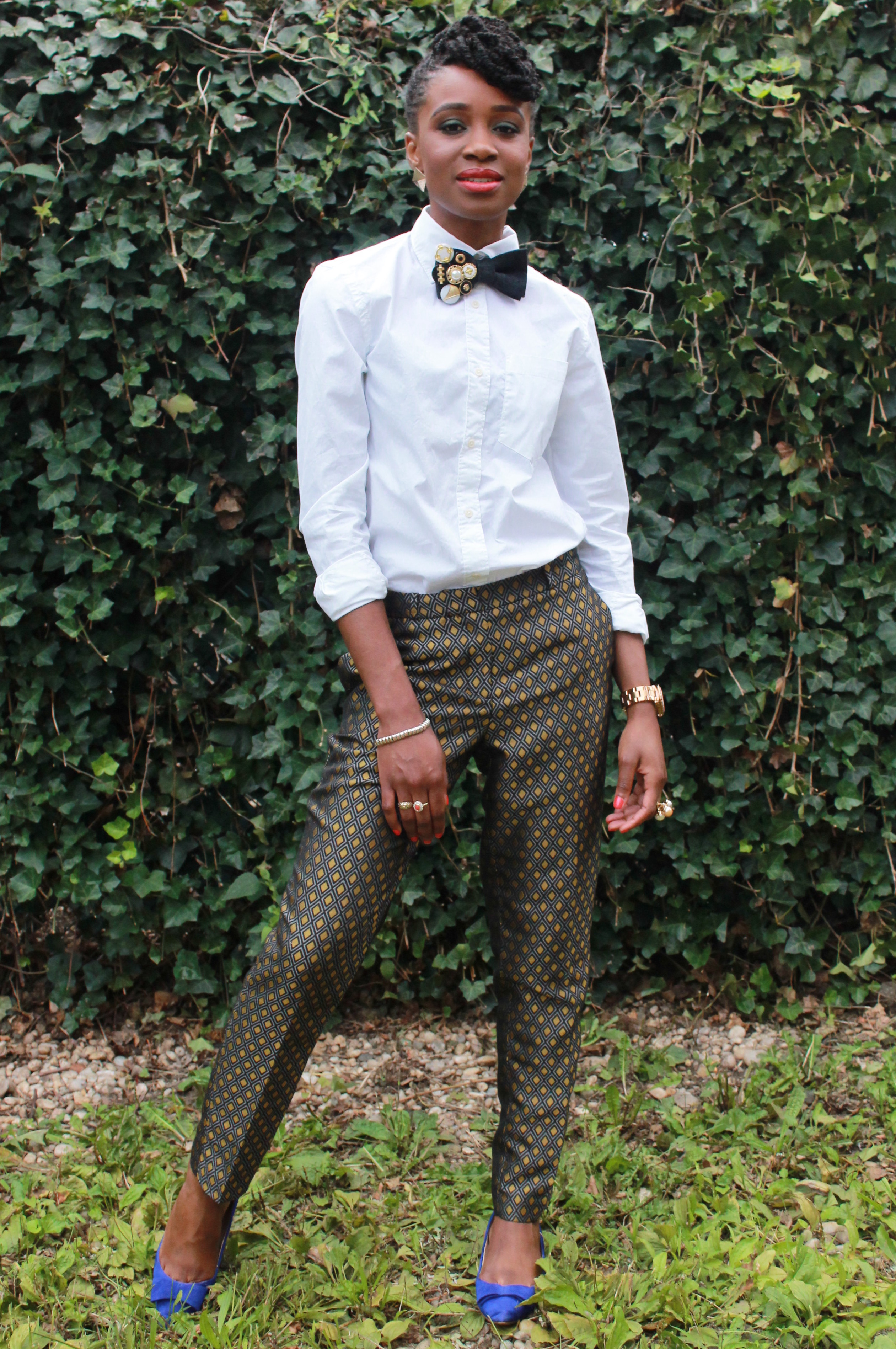 Printed trousers & bedazzled tie (5)
