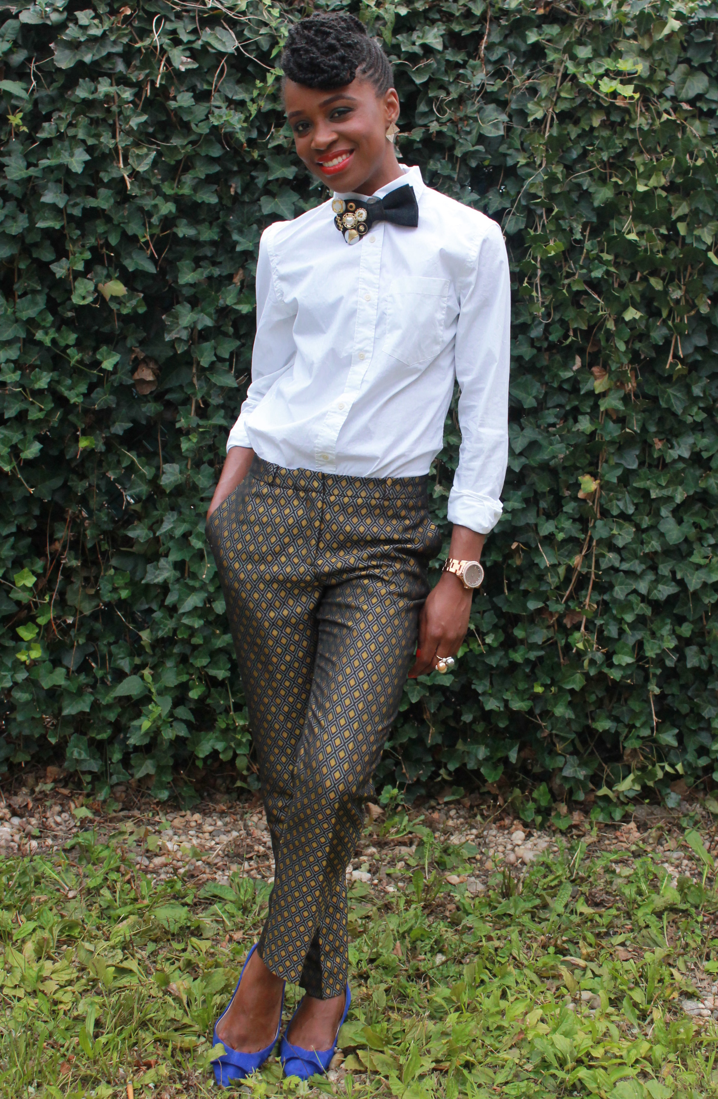 Printed trousers & bedazzled tie (6)