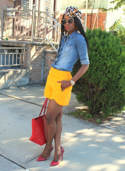 Zara shorts + chambray shirt + headwrap (12)
