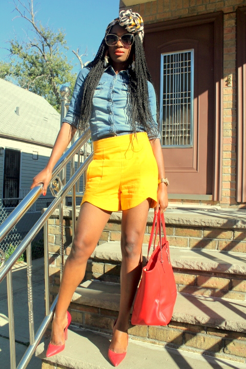 Zara shorts + chambray shirt + headwrap (2)
