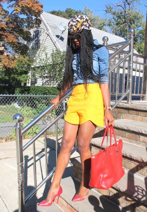 Zara shorts + chambray shirt + headwrap (3)