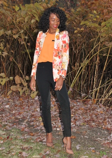 Floral blazer + high waisted trousers (5)