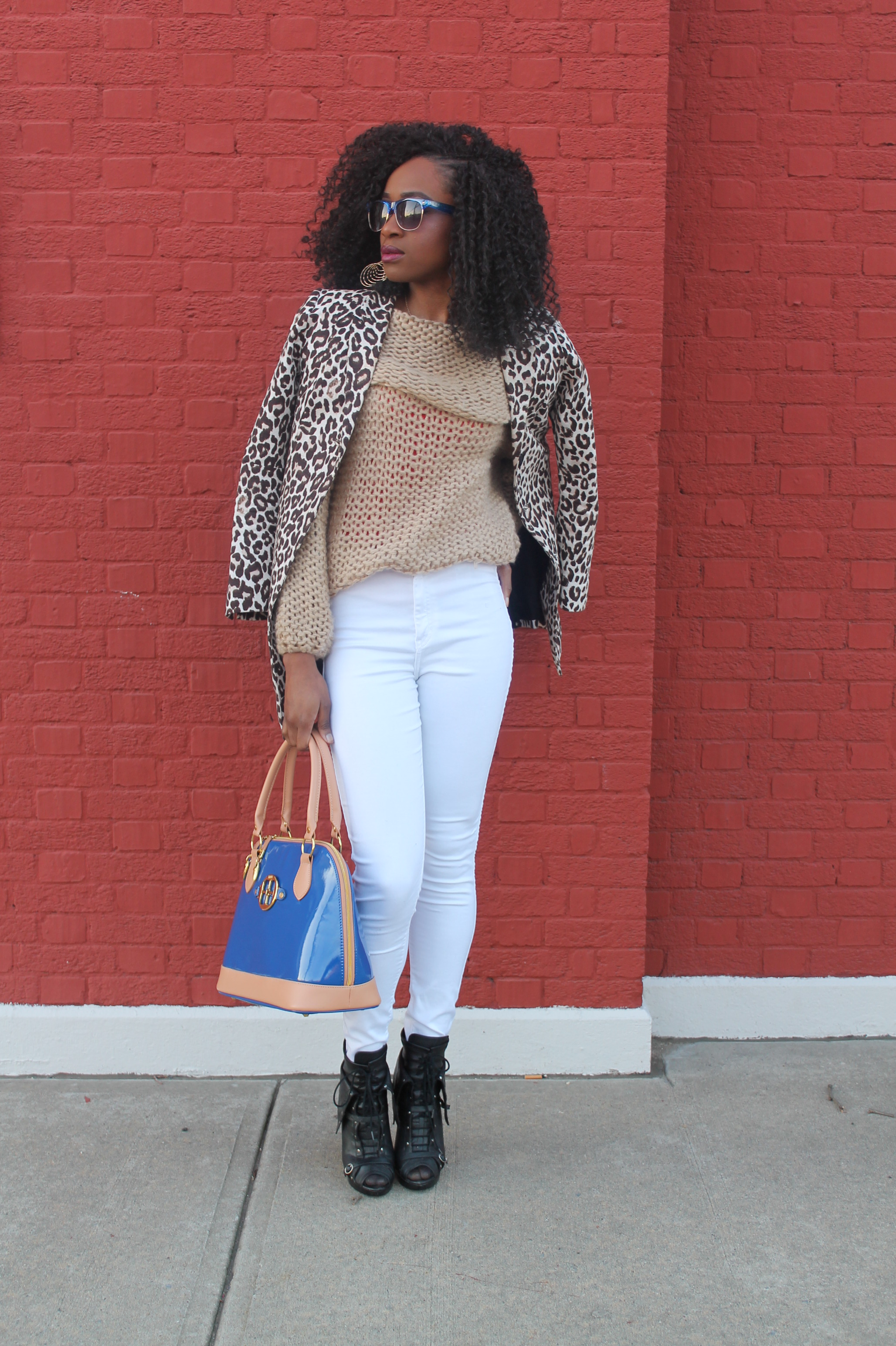 American Apparel high waist white jeans & sheinside sweater (3)