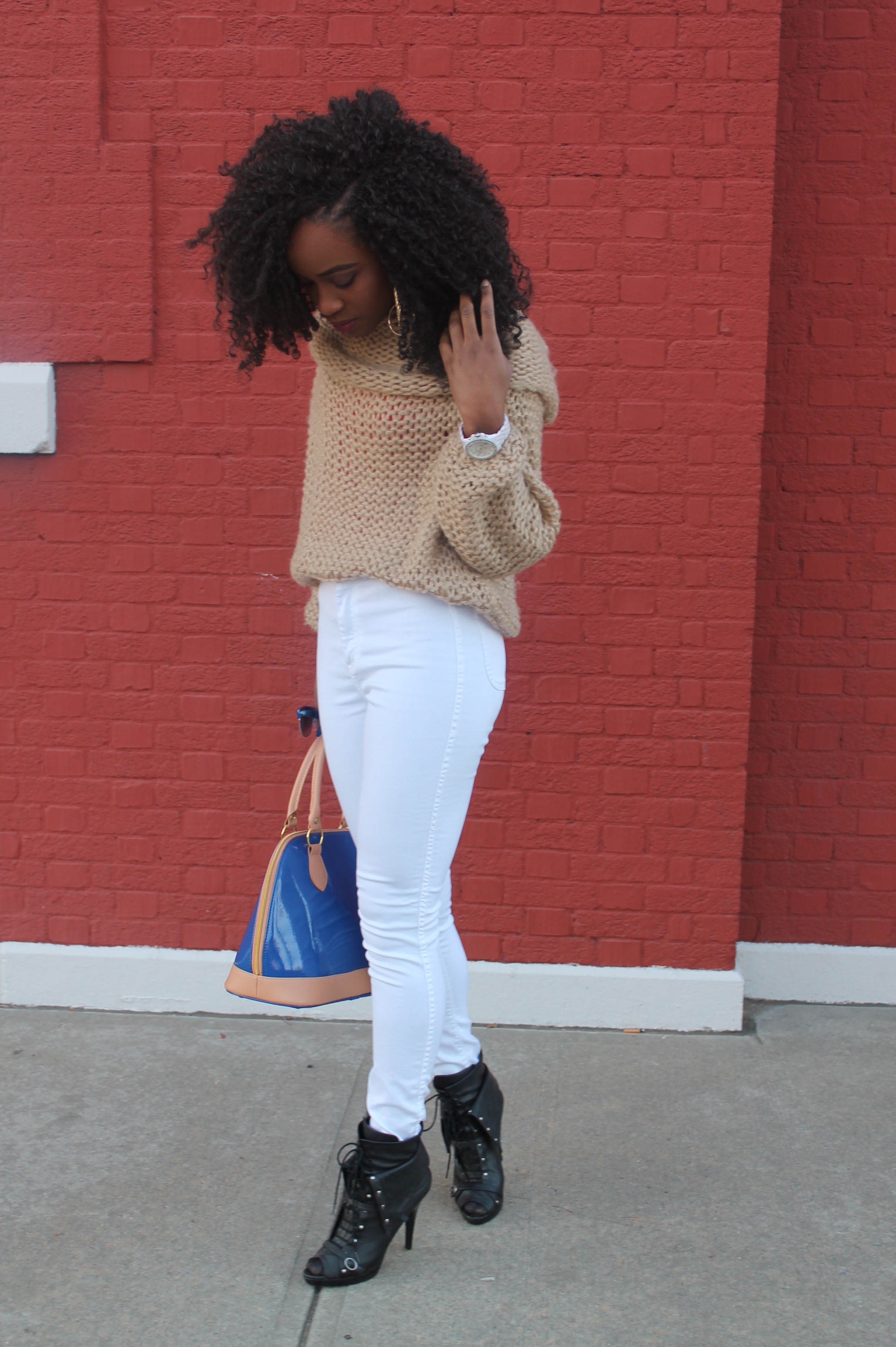 American Apparel high waist white jeans & sheinside sweater (6)