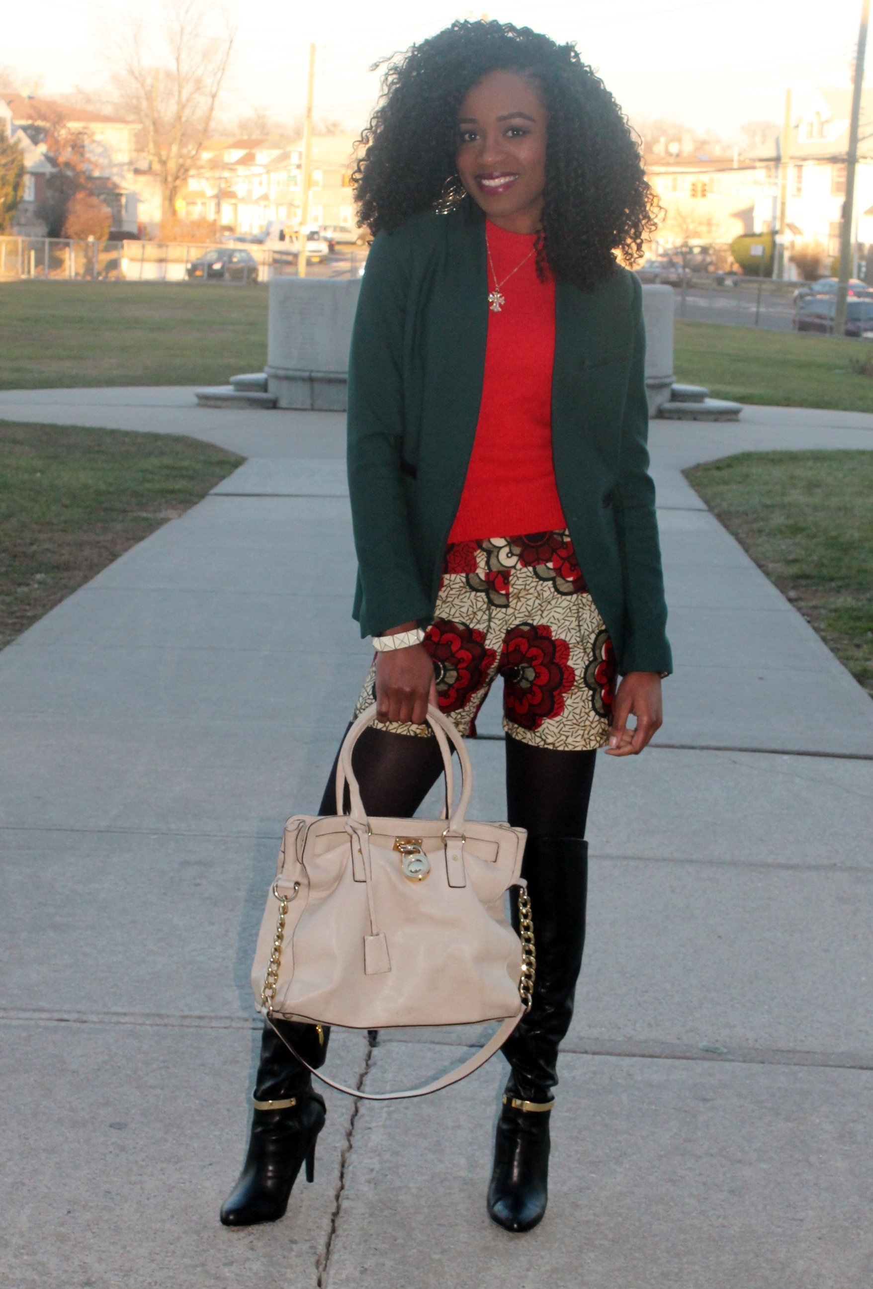 Ankara shorts + knee high boots (1)