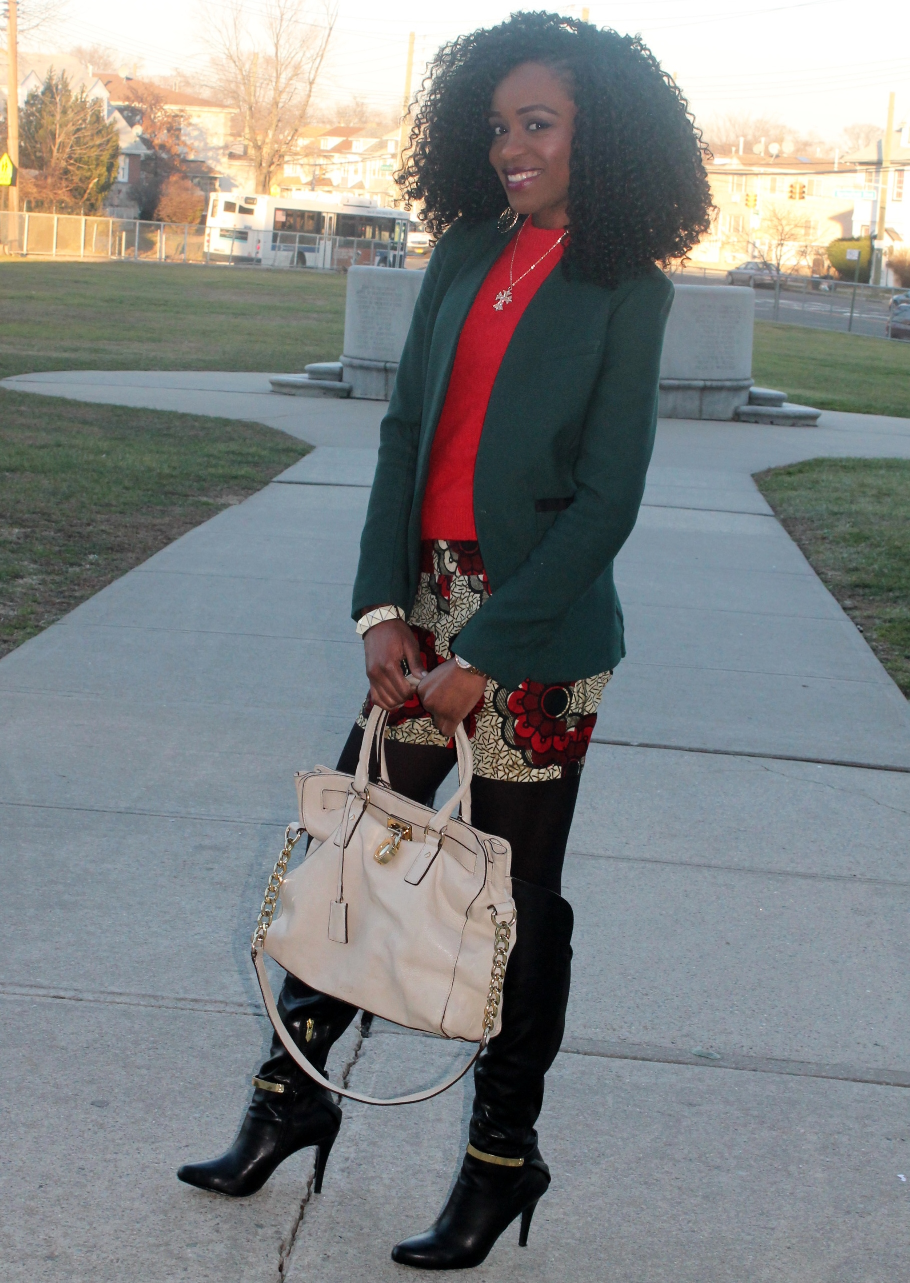 Ankara shorts + knee high boots (2)