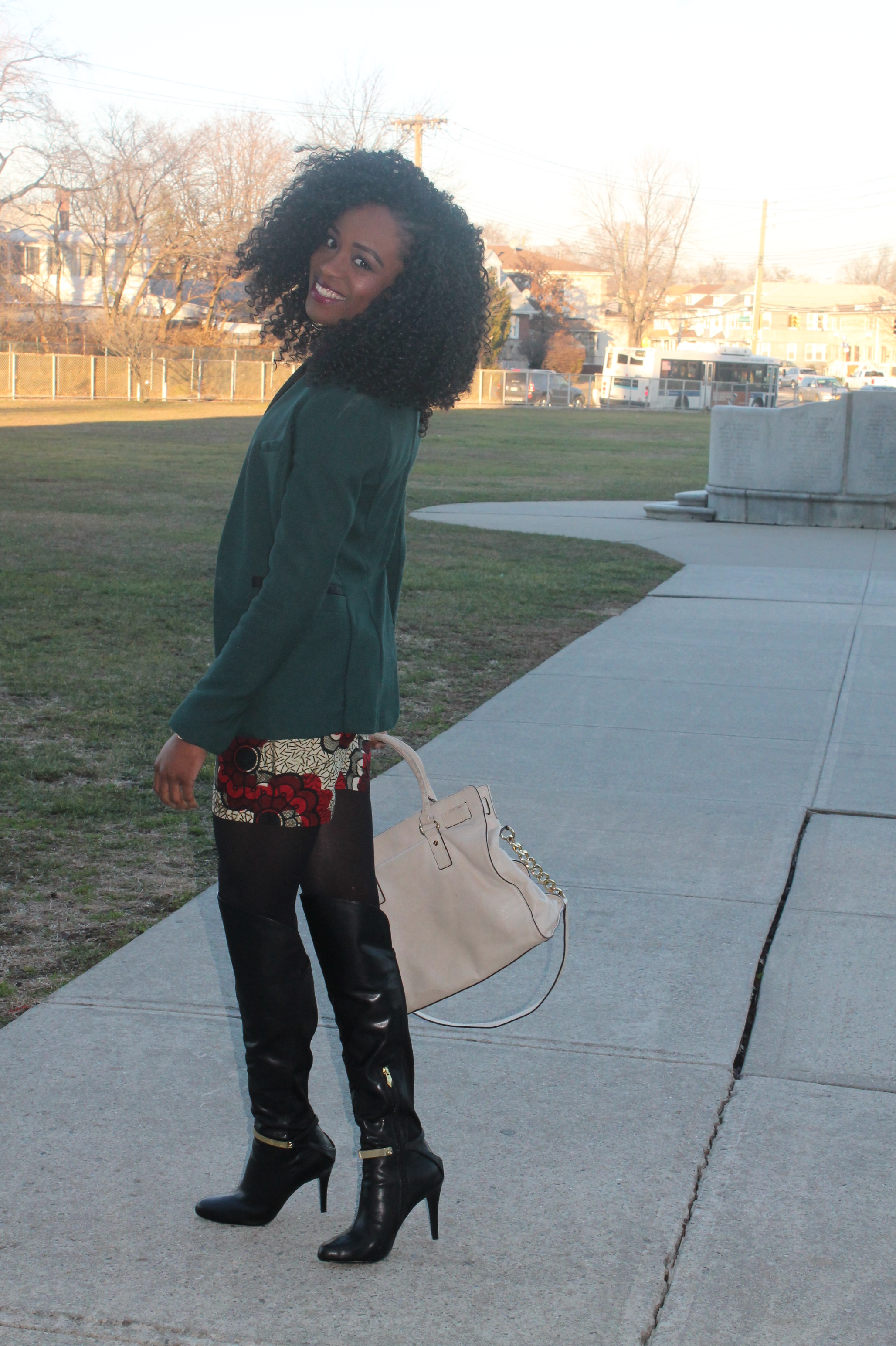Ankara shorts + knee high boots (3)