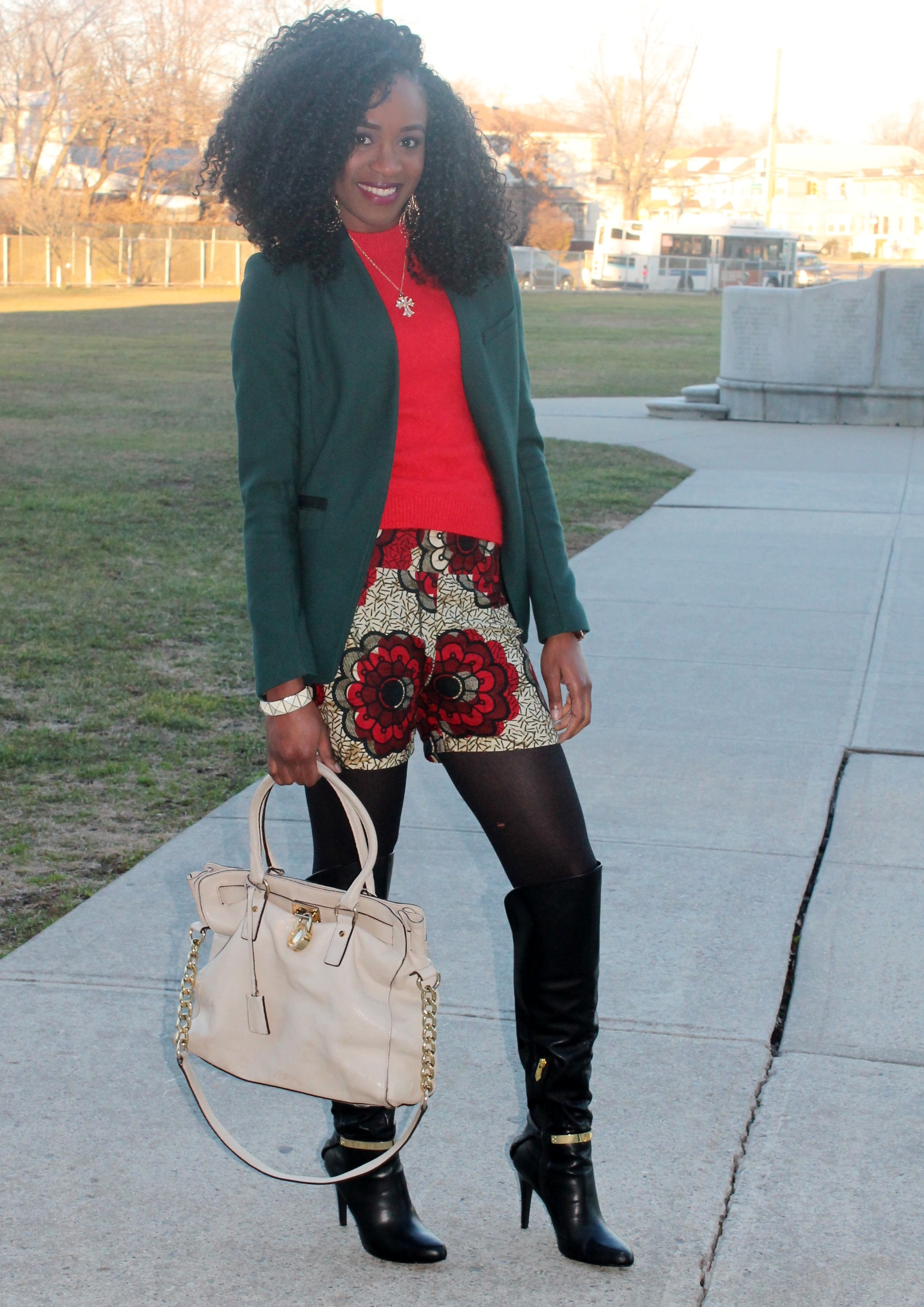 Ankara shorts + knee high boots (4)