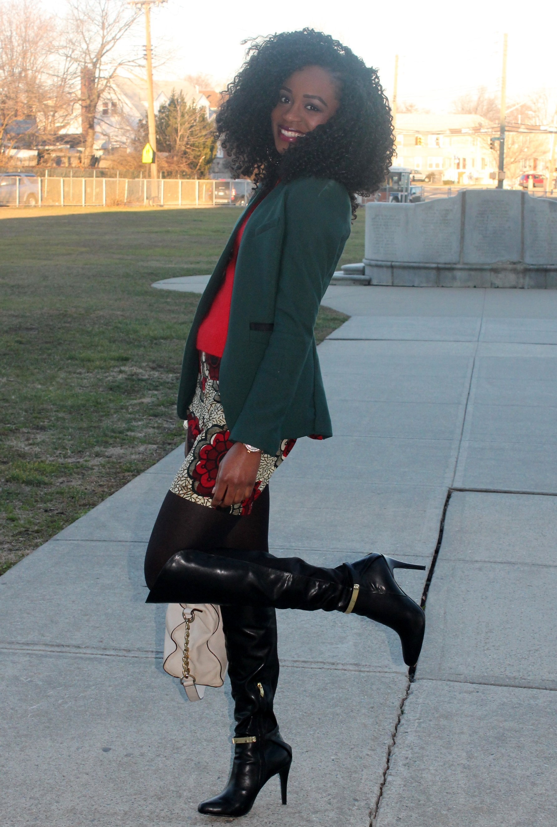Ankara shorts + knee high boots (5)