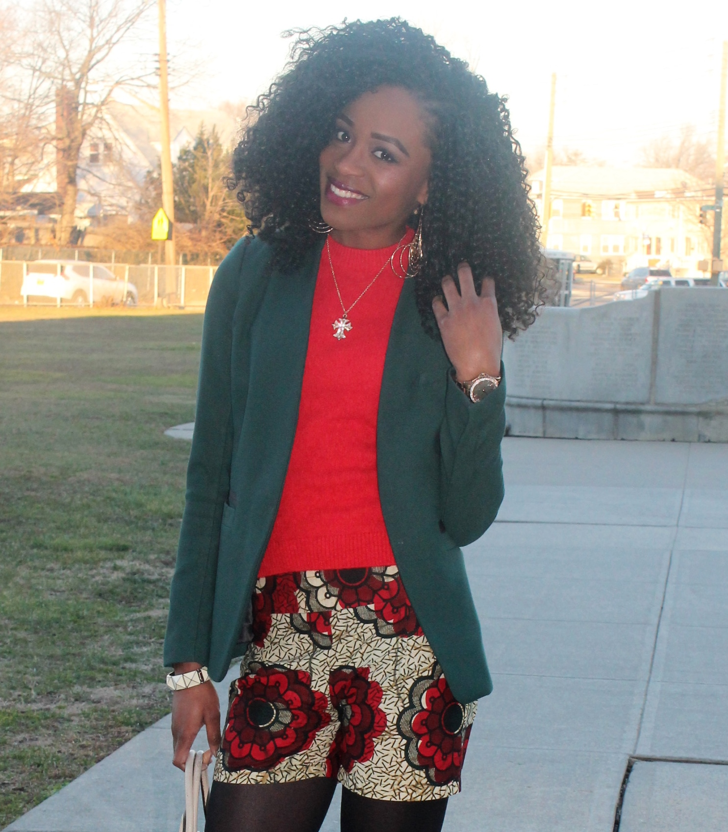 Ankara shorts + knee high boots (6)