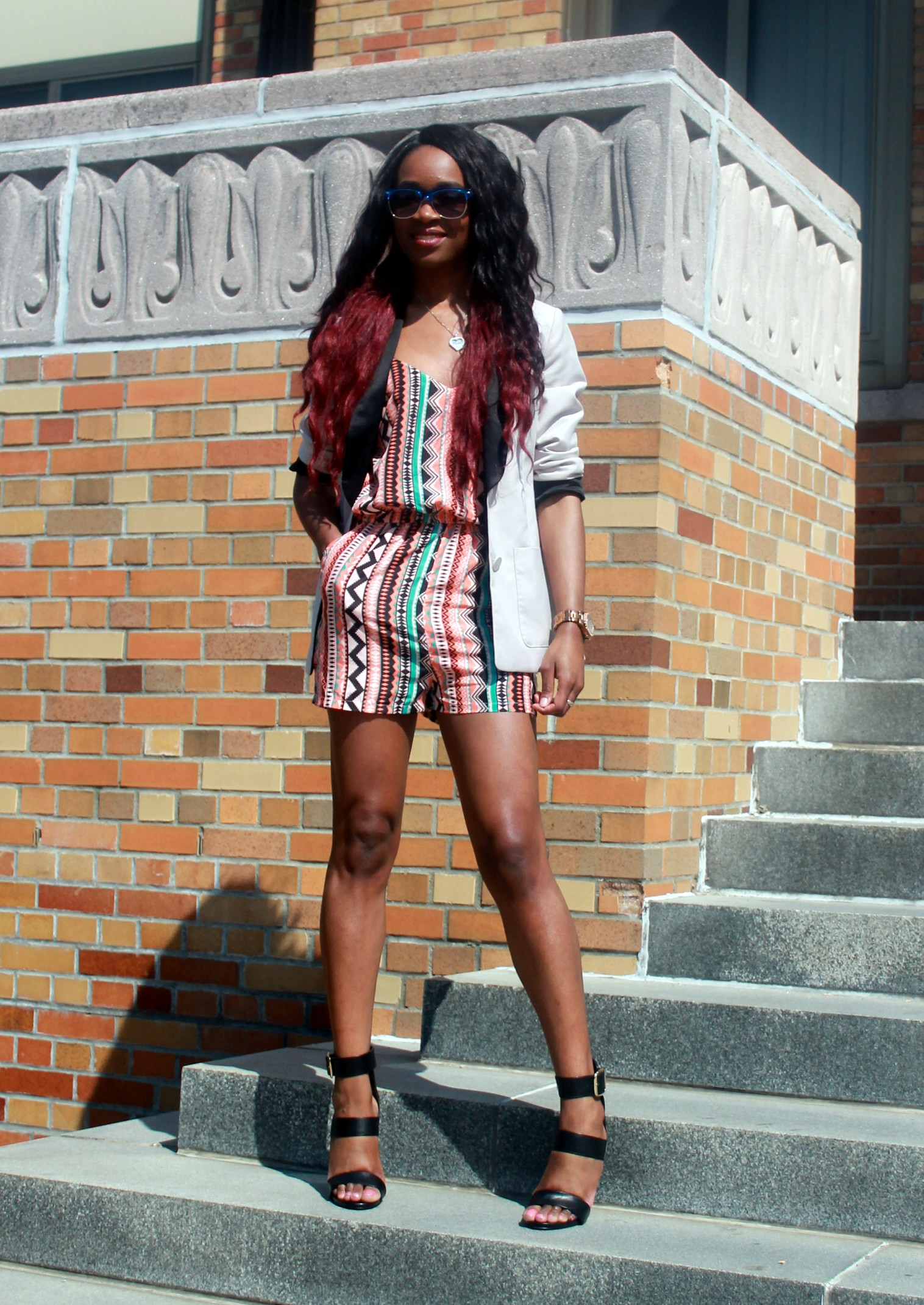 Printed romper + neutral blazer (2)