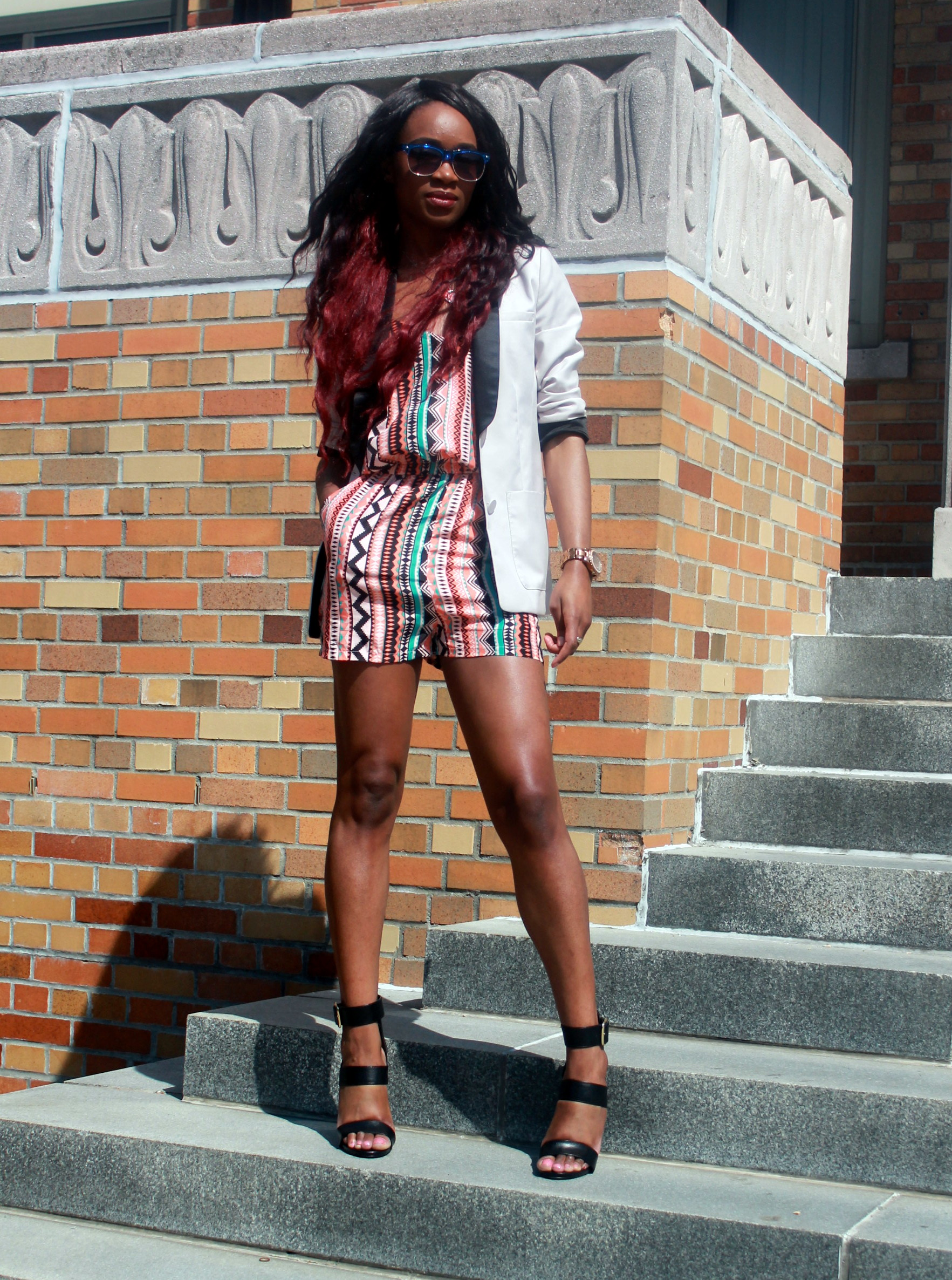 Printed romper + neutral blazer (3)