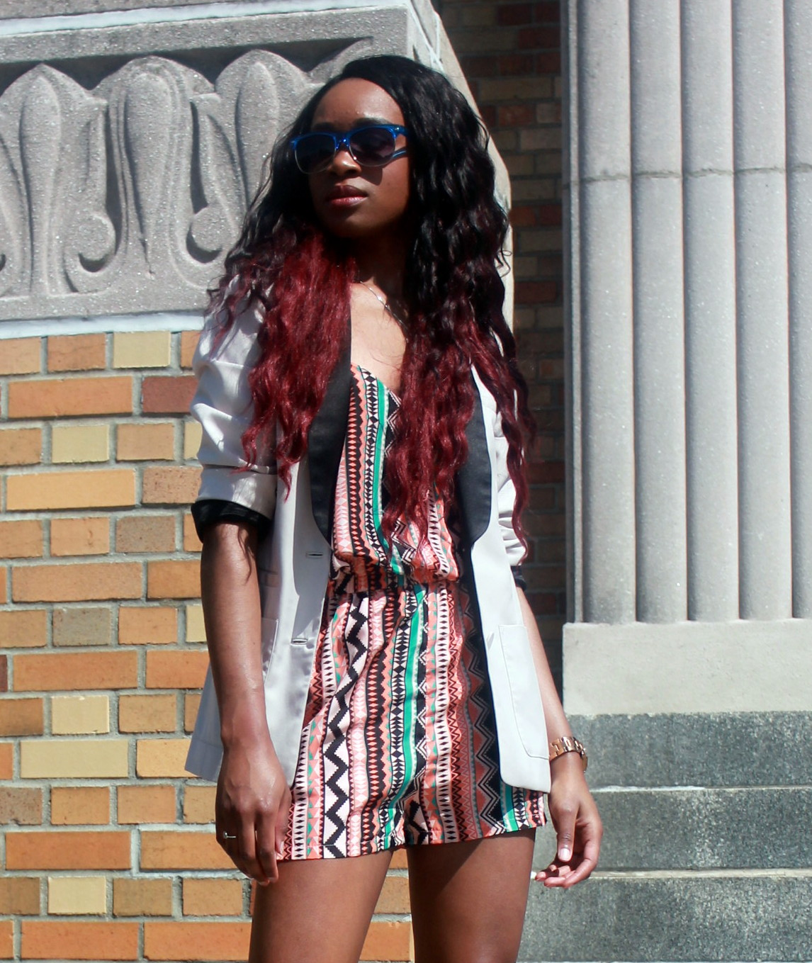 Printed romper + neutral blazer (4)