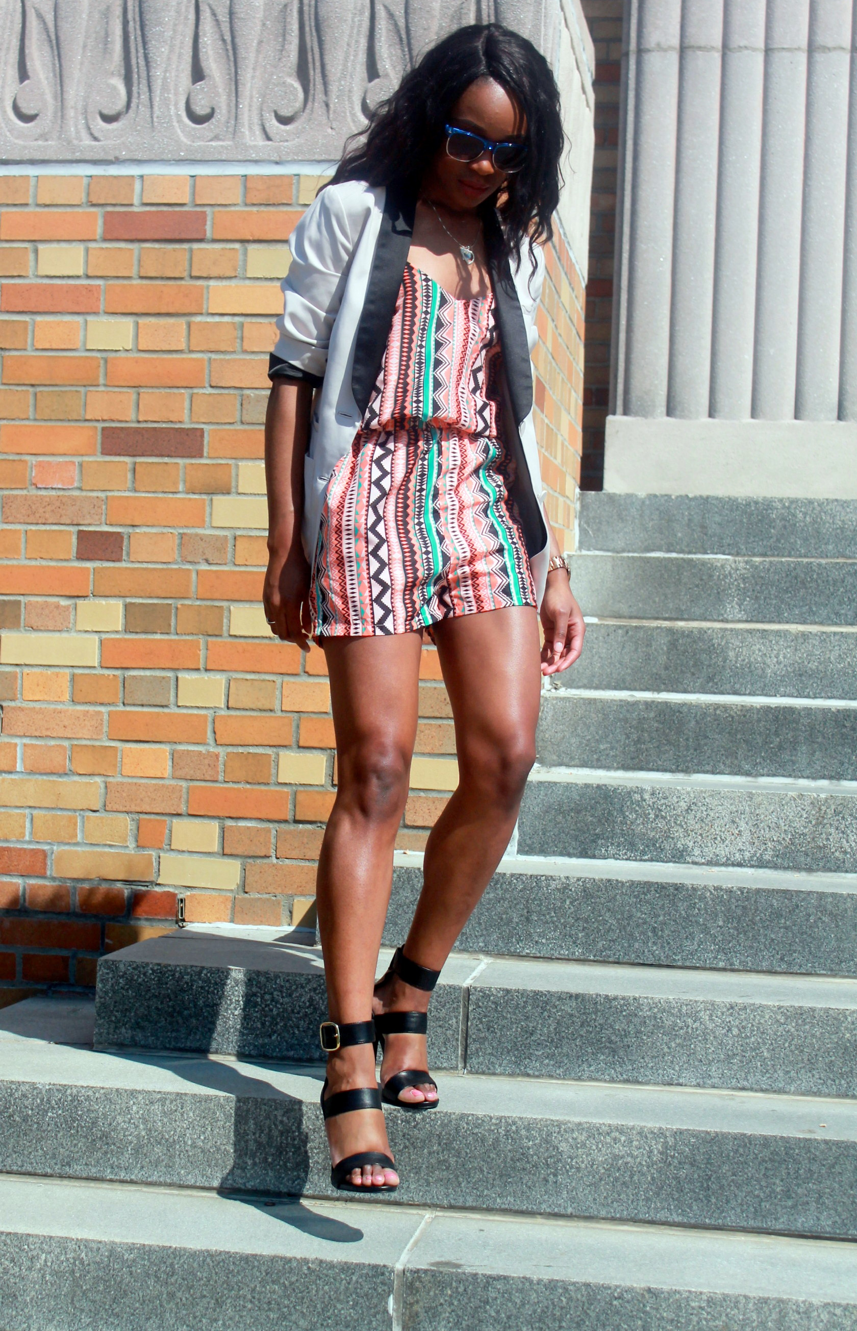 Printed romper + neutral blazer (7)