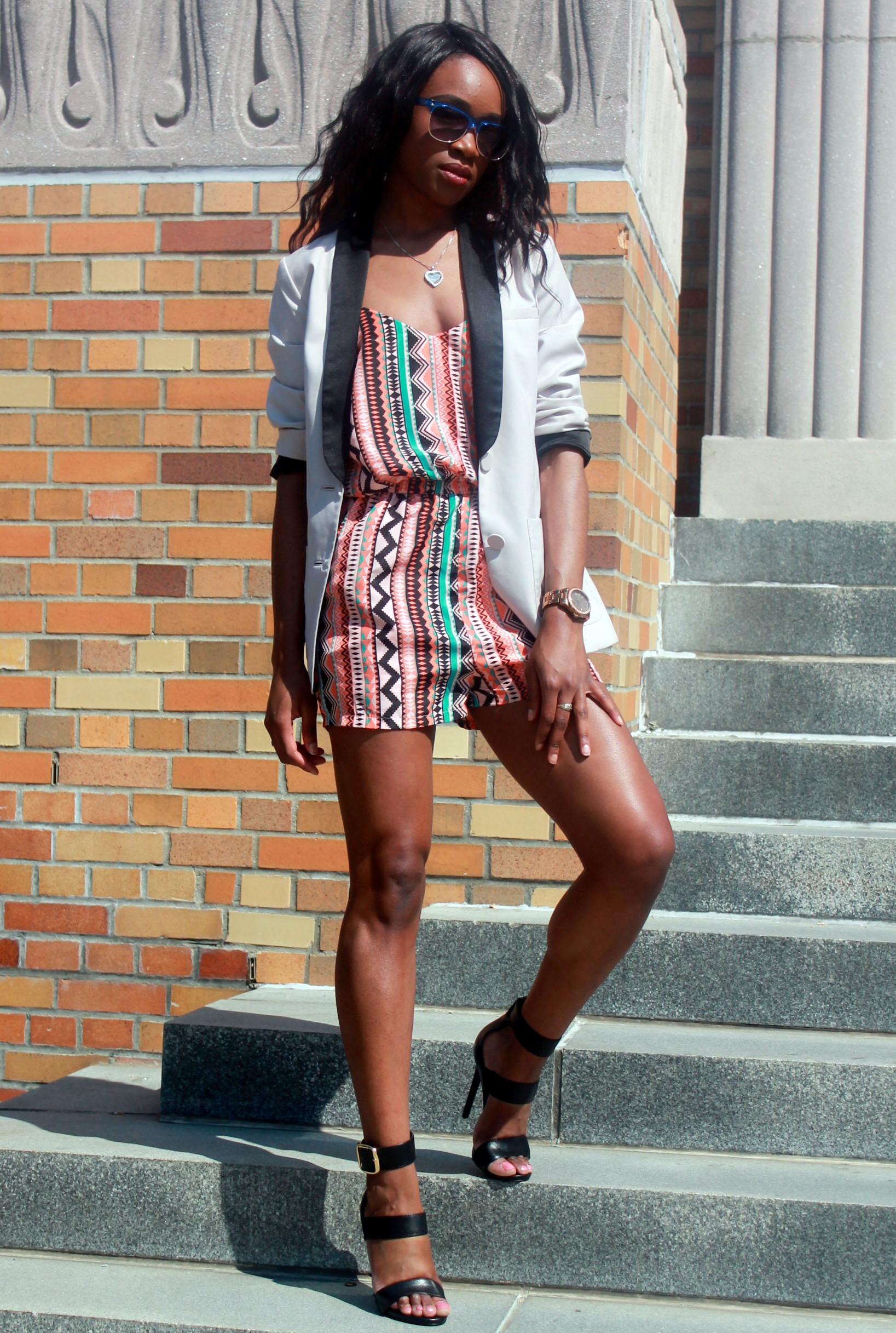 Printed romper + neutral blazer (8)