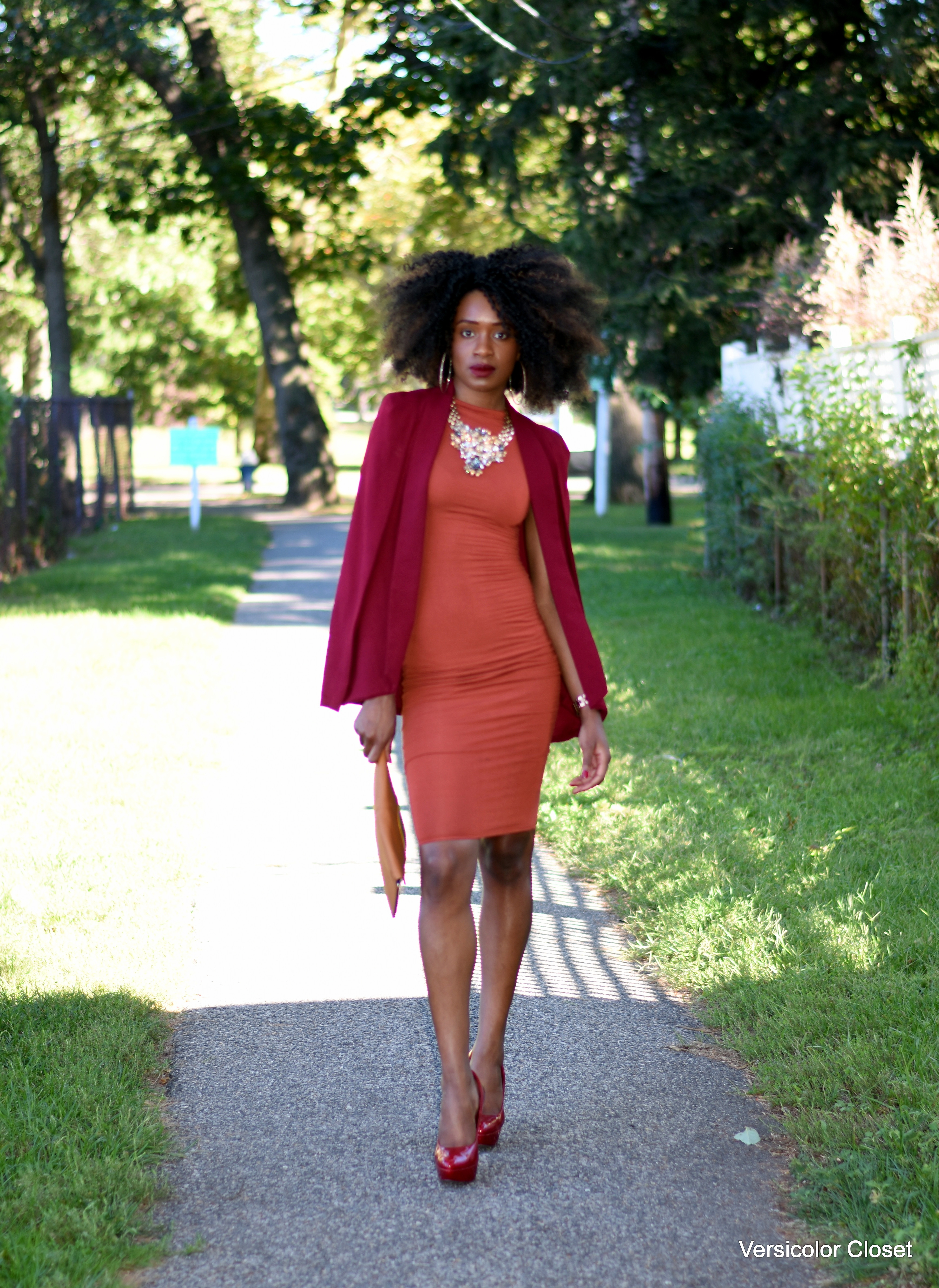 Burnt orange dress & burgundy cape (2)