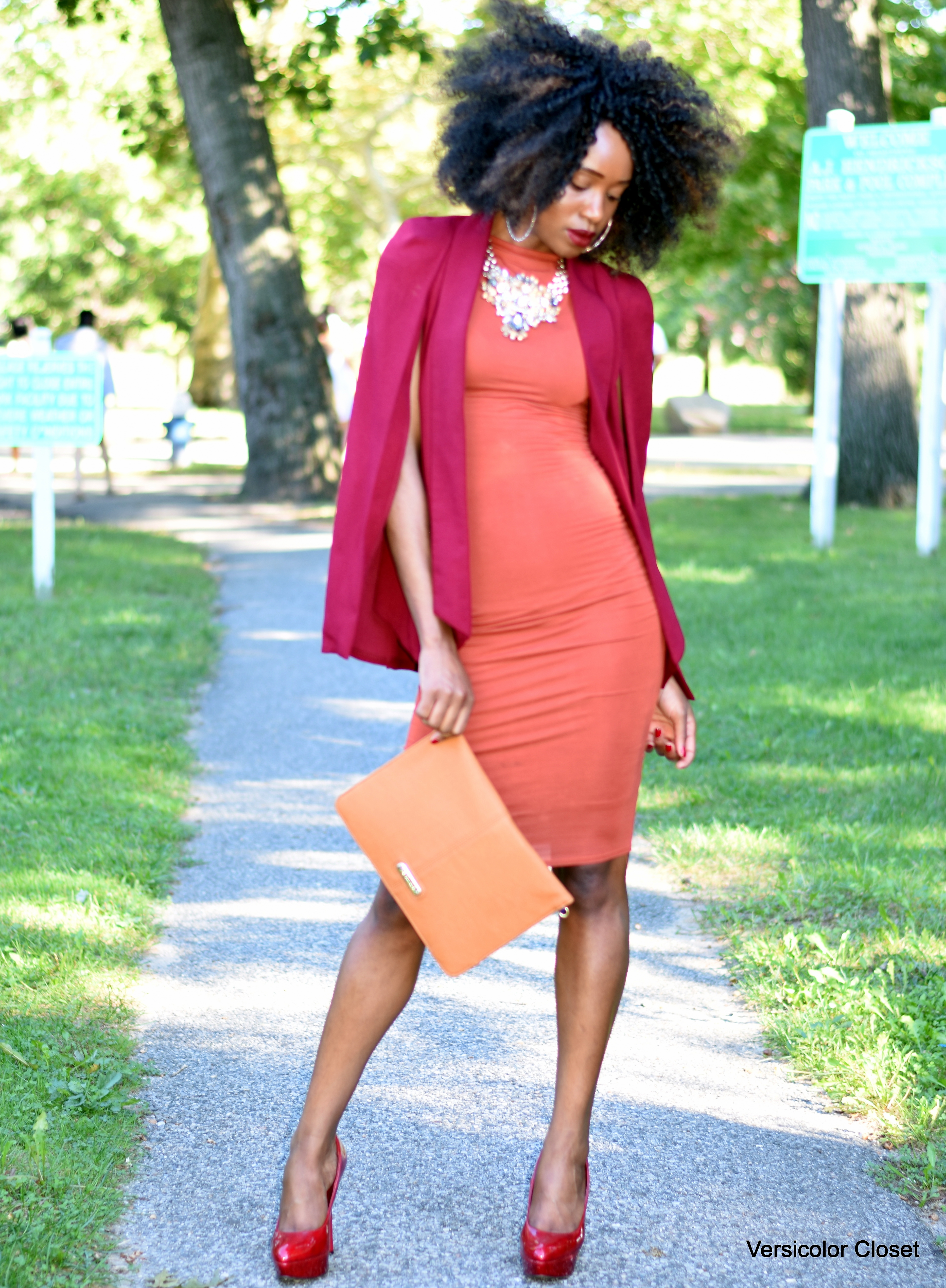Burnt orange dress & burgundy cape (3)