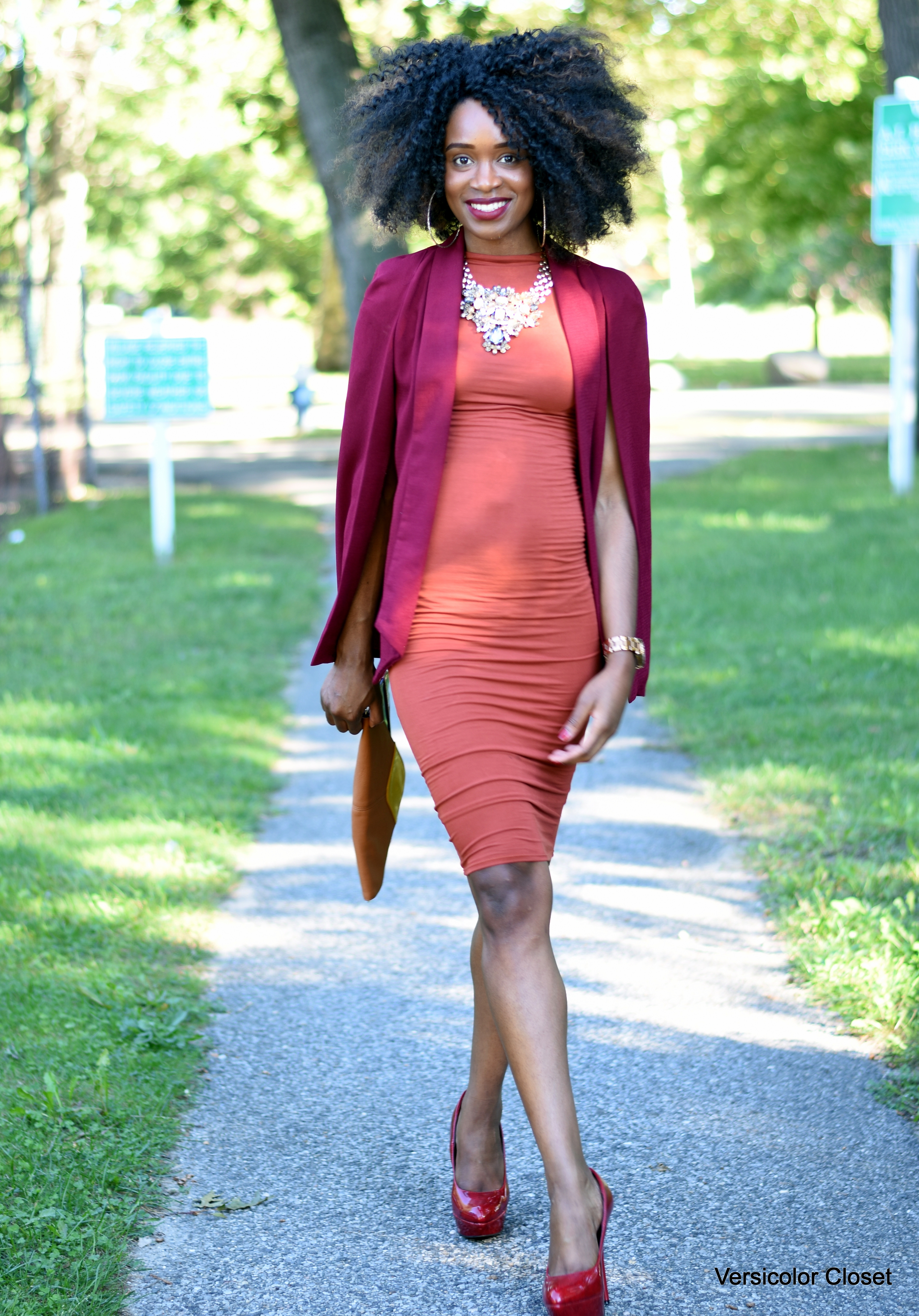 Burnt orange dress & burgundy cape (5)