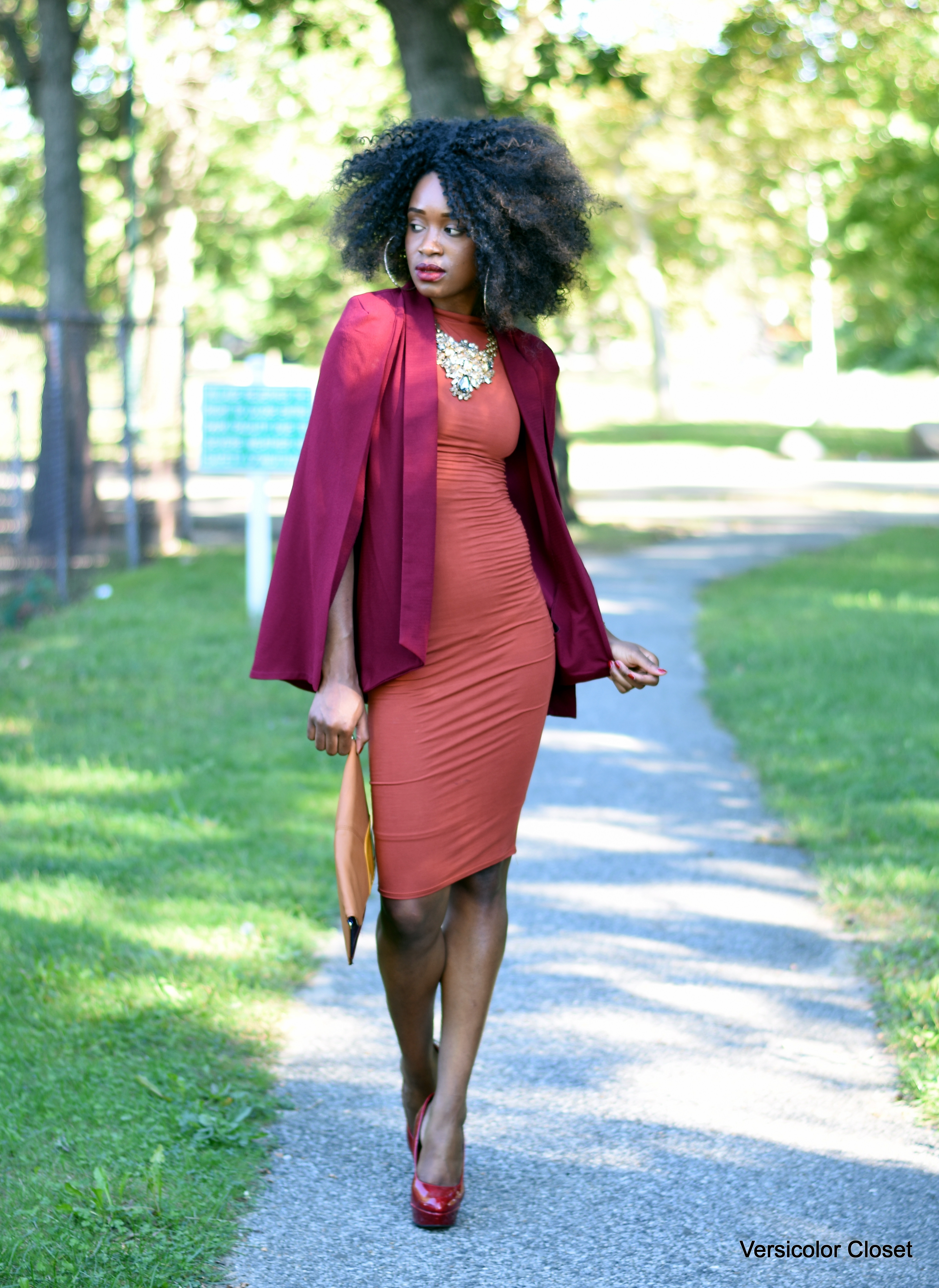 Burnt orange dress & burgundy cape (6)