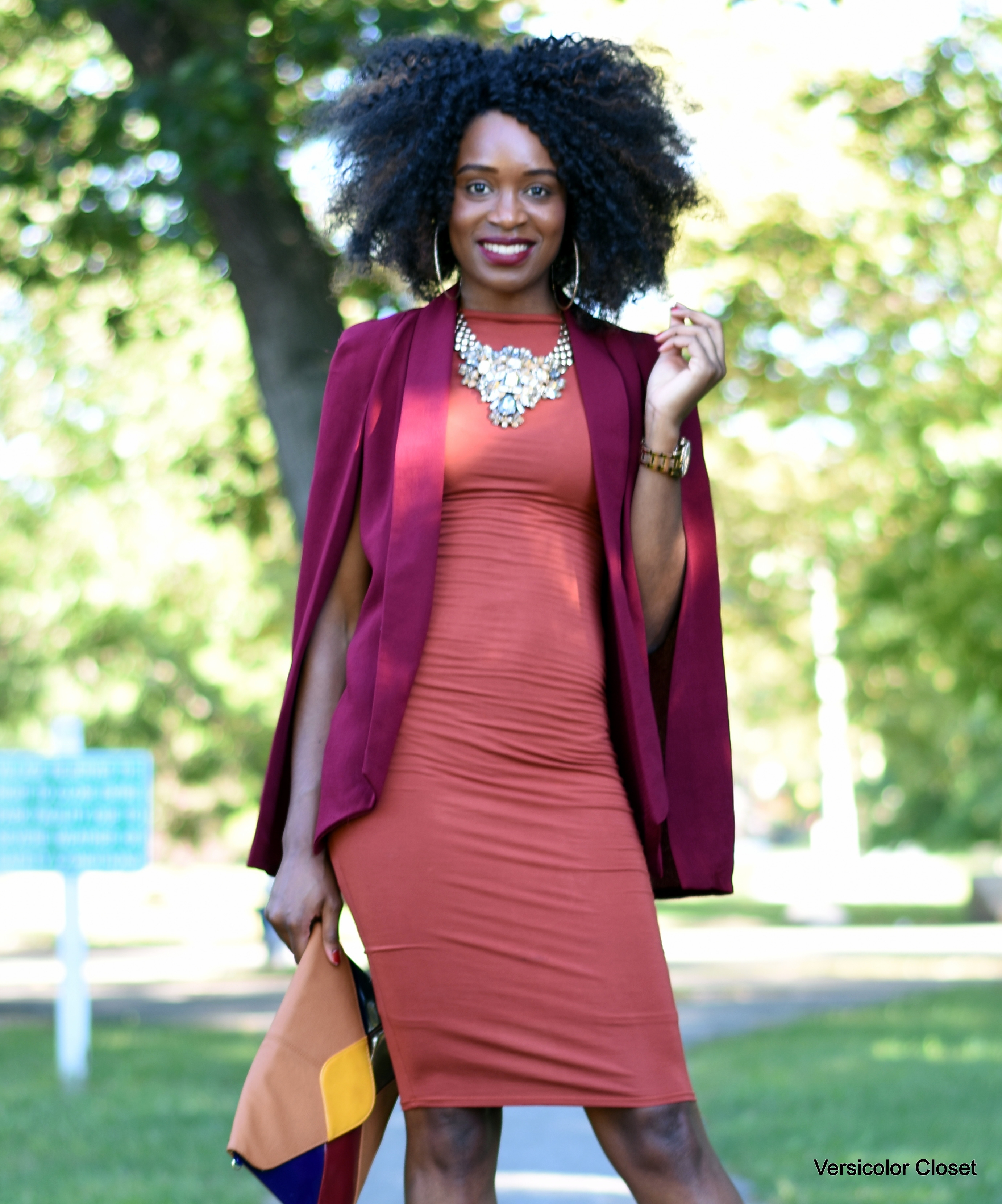 Burnt orange dress & burgundy cape (7)