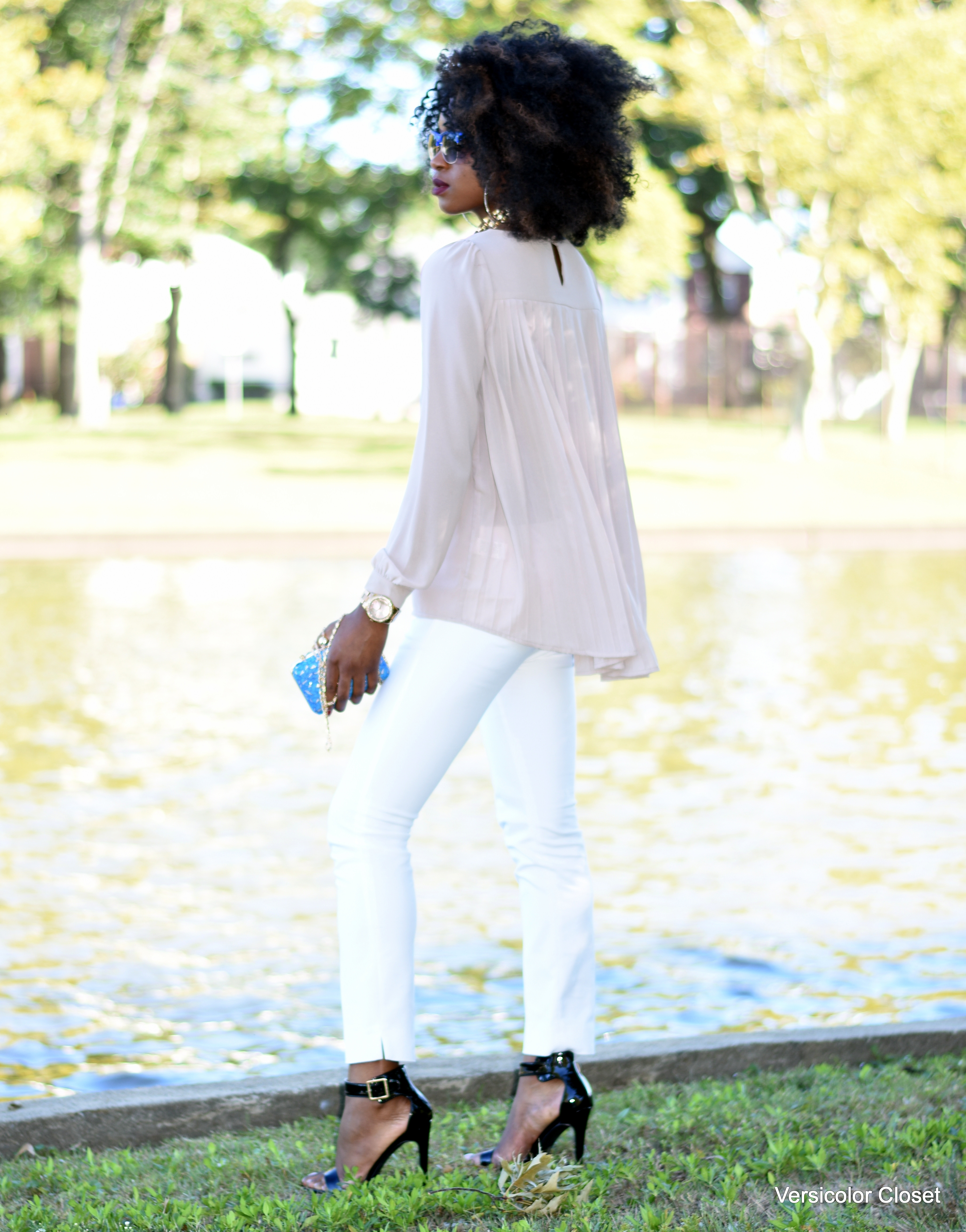 White cigarette pants + nude blouse (2)