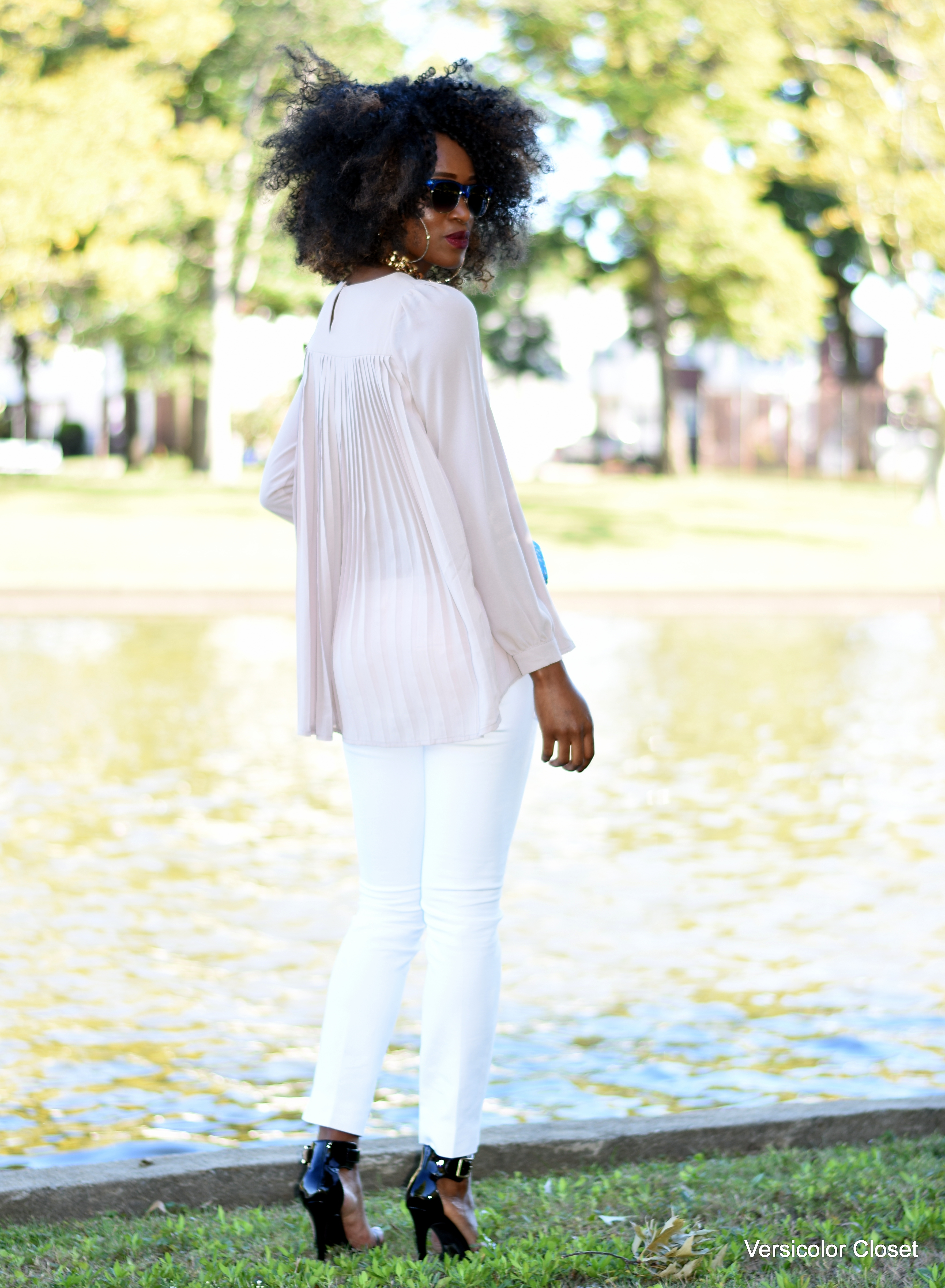 White cigarette pants + nude blouse (4)