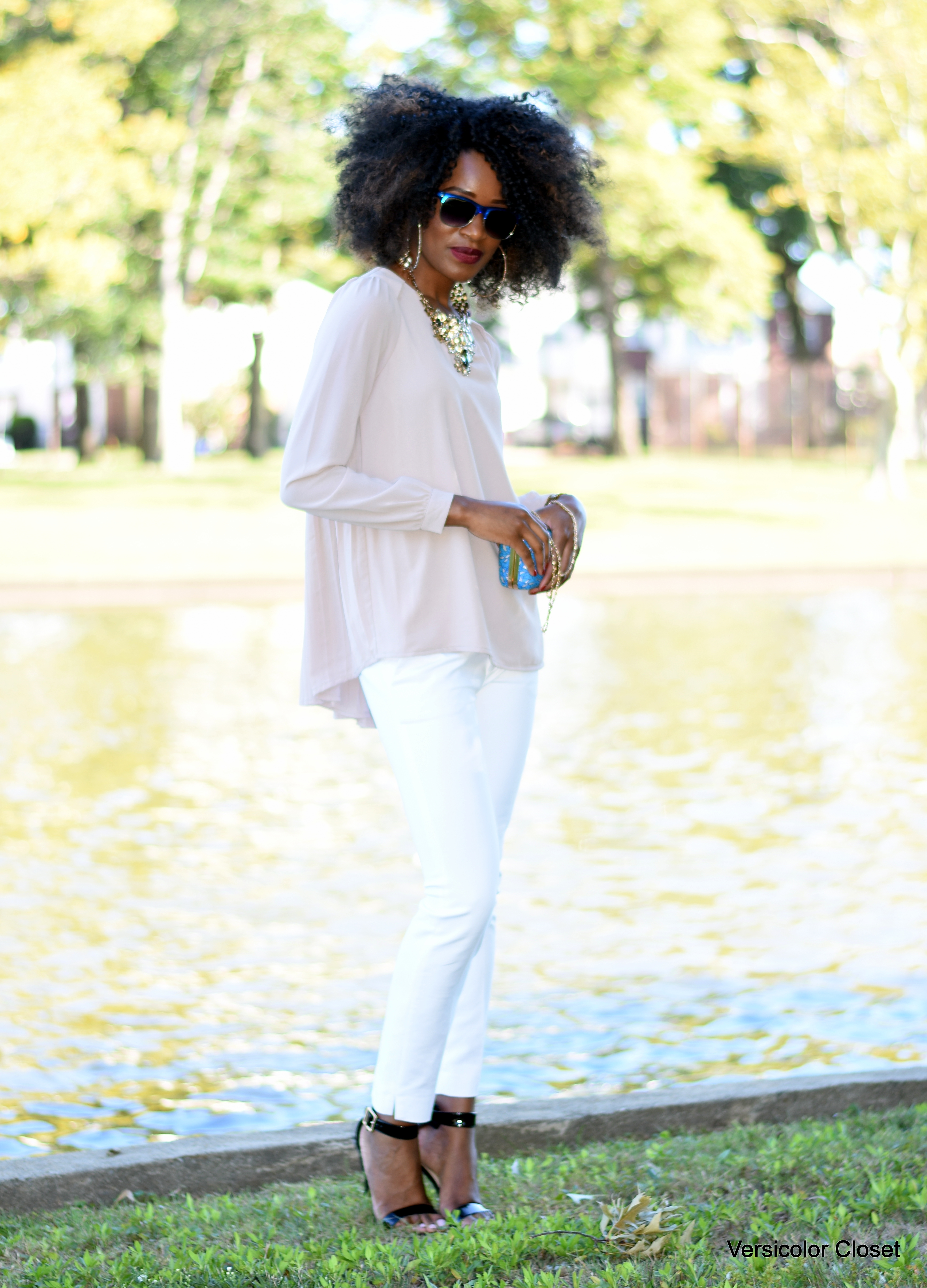 White cigarette pants + nude blouse (6)