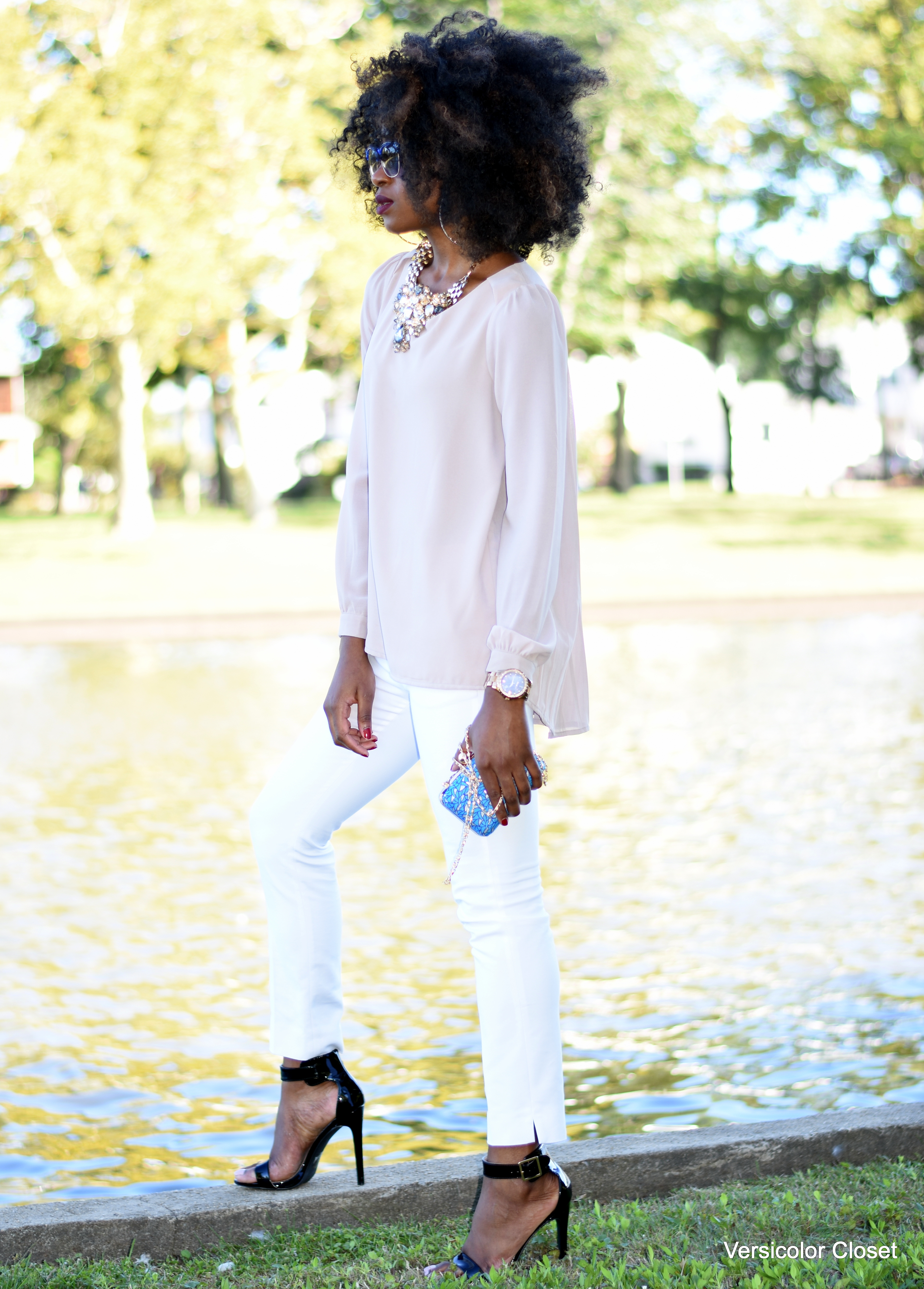 White cigarette pants + nude blouse (7)