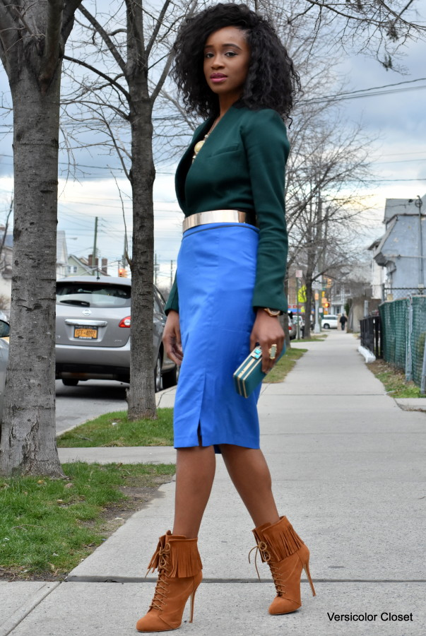 Blue pencil skirt & green blazer (3)