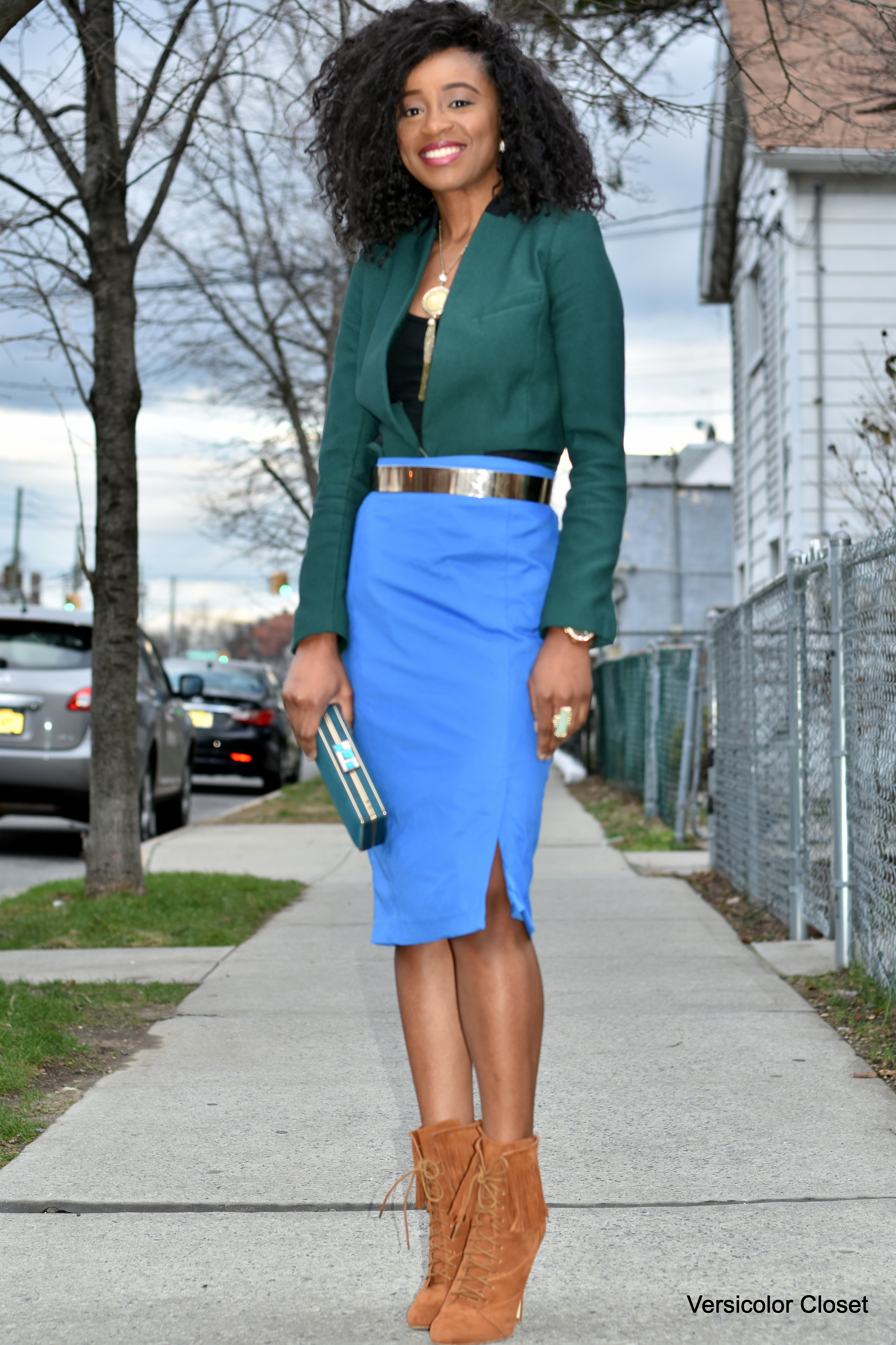 pencil skirt fitted blazer versicolor closet