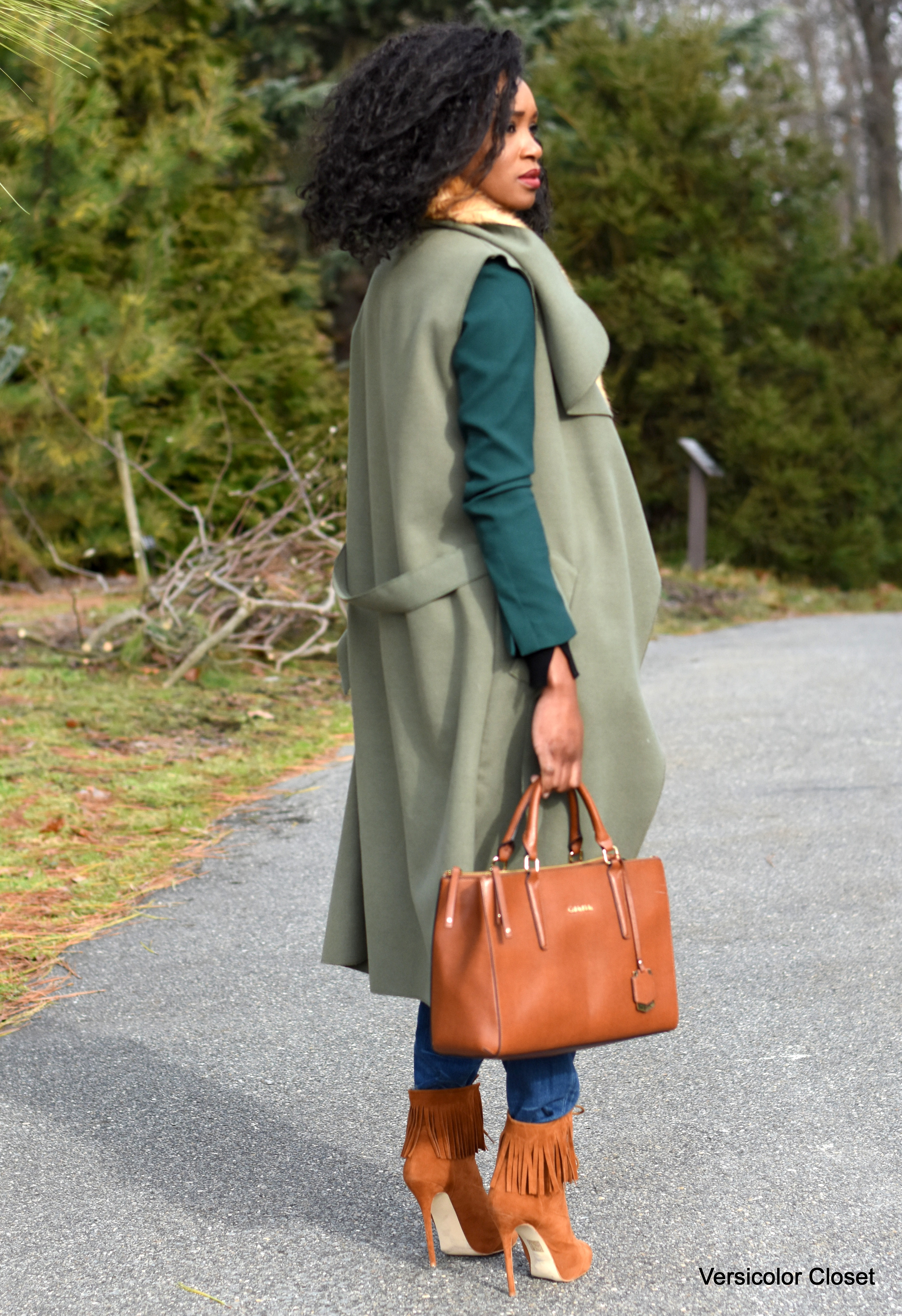 Distressed denim, waterfall coat, camel booties and purse (1)