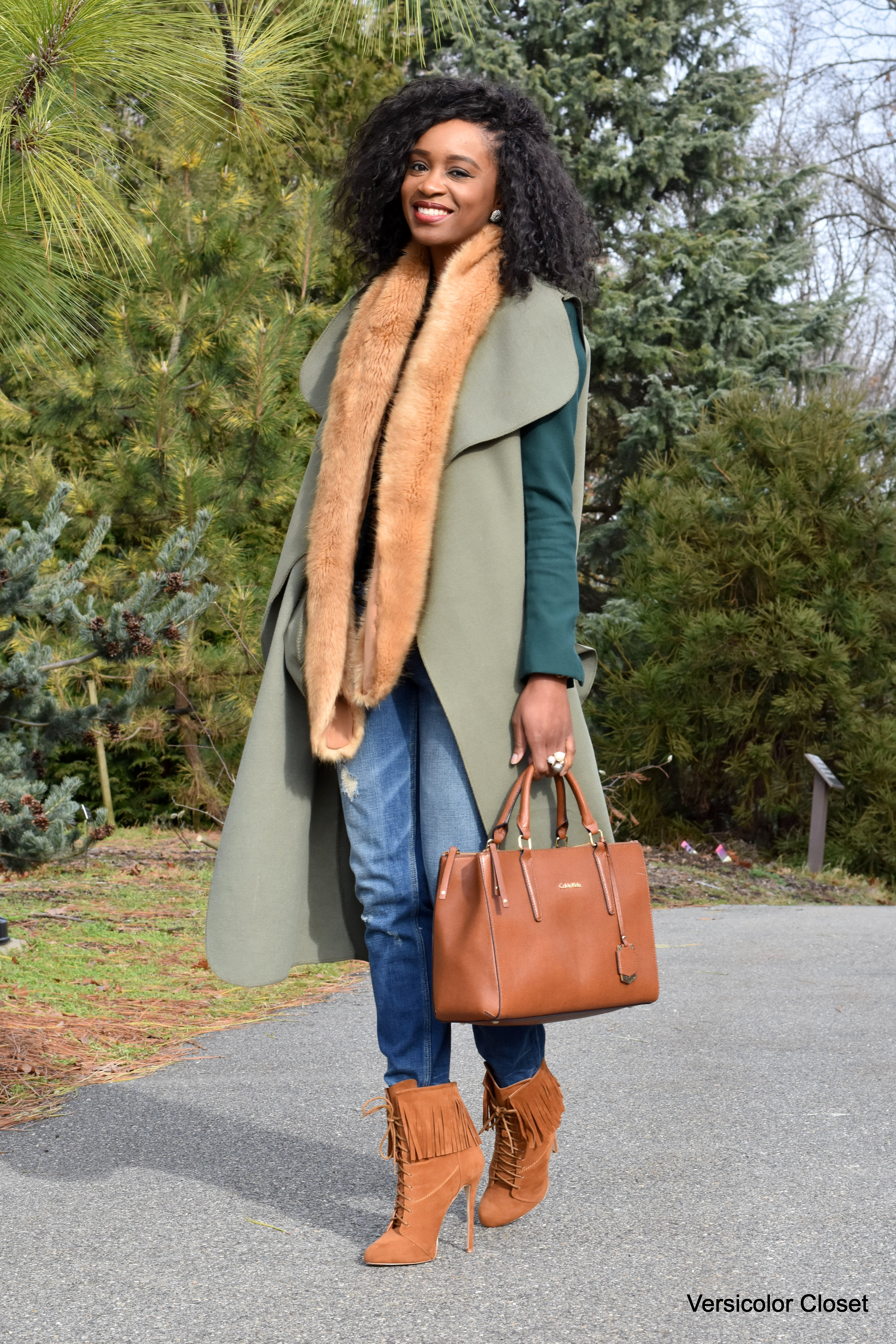 Distressed denim, waterfall coat, camel booties and purse (2)