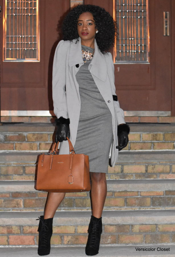 Grey midi dress + fringe booties (4)