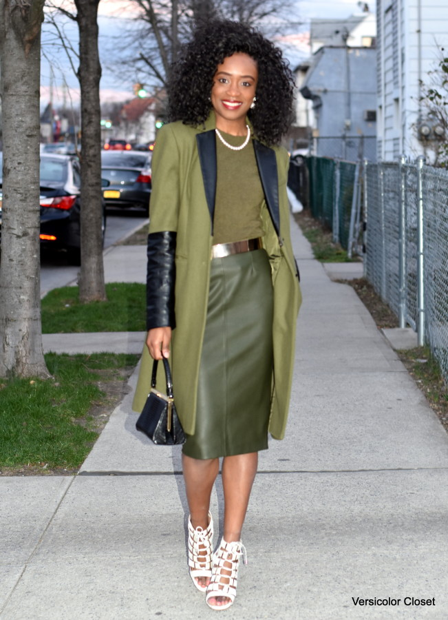 Olive pleather skirt + olive coat (7)