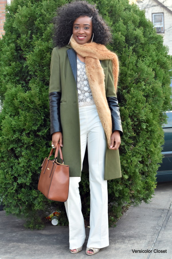 White trousers + faux fur stole (1)